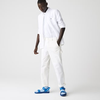 라코스테 린넨 셔츠 (레귤러 핏) Lacoste Mens Regular Fit Linen Shirt,White