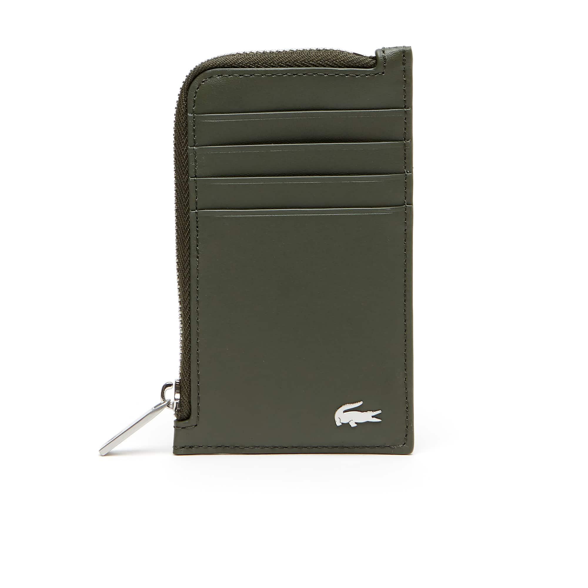 라코스테 카드 지갑 Lacoste Mens Fitzgerald Leather Zip Card Holder,grape leaf