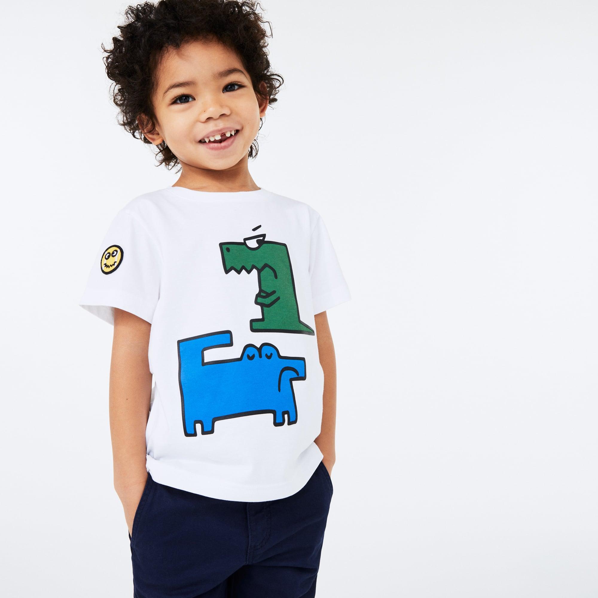 라코스테 Lacoste Boys' Crew Neck Croc Print Cotton T-shirt,White • SBH