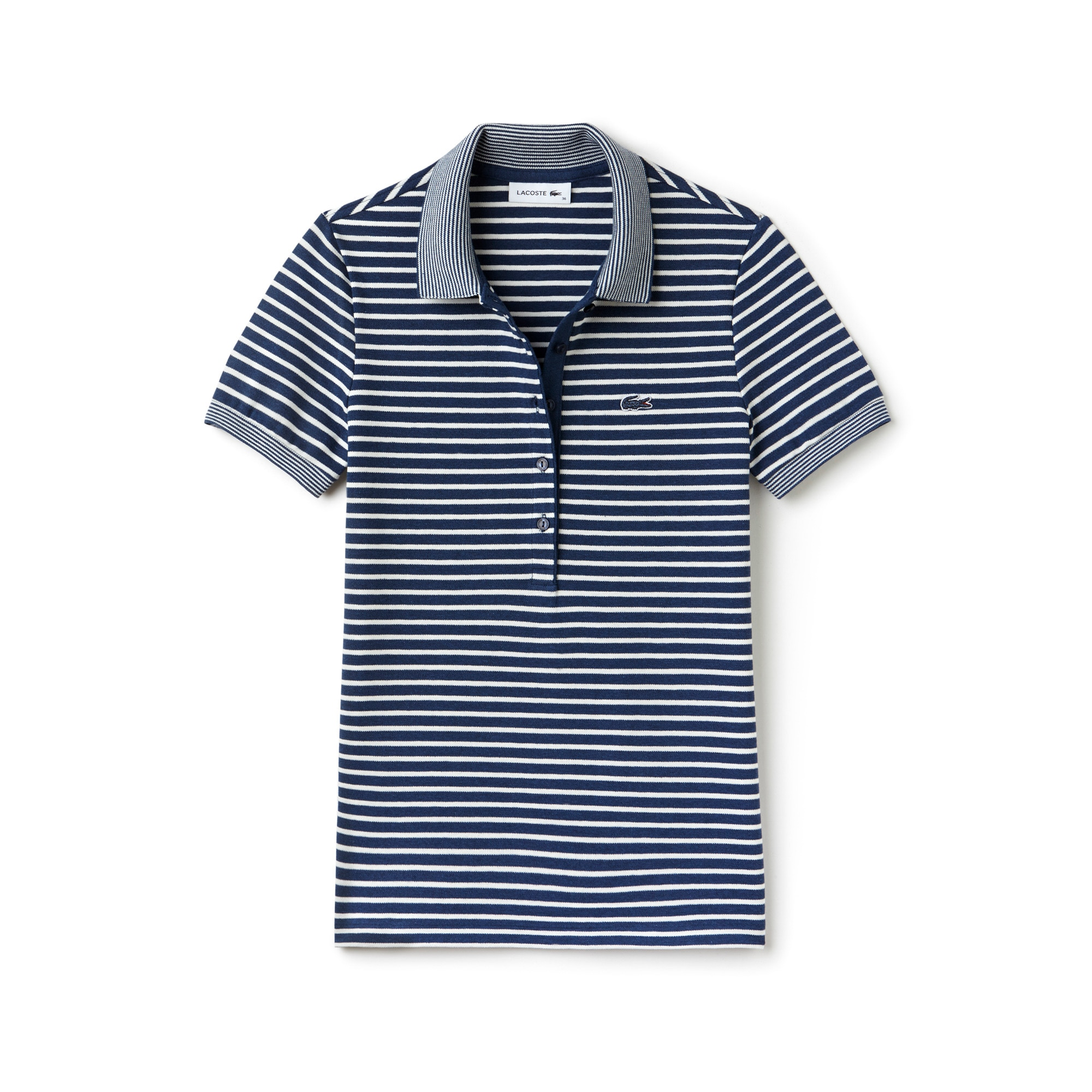 라코스테 Lacoste Womens Slim Fit Striped Mini Pique Polo,ANCHOR CHINE/FLOUR