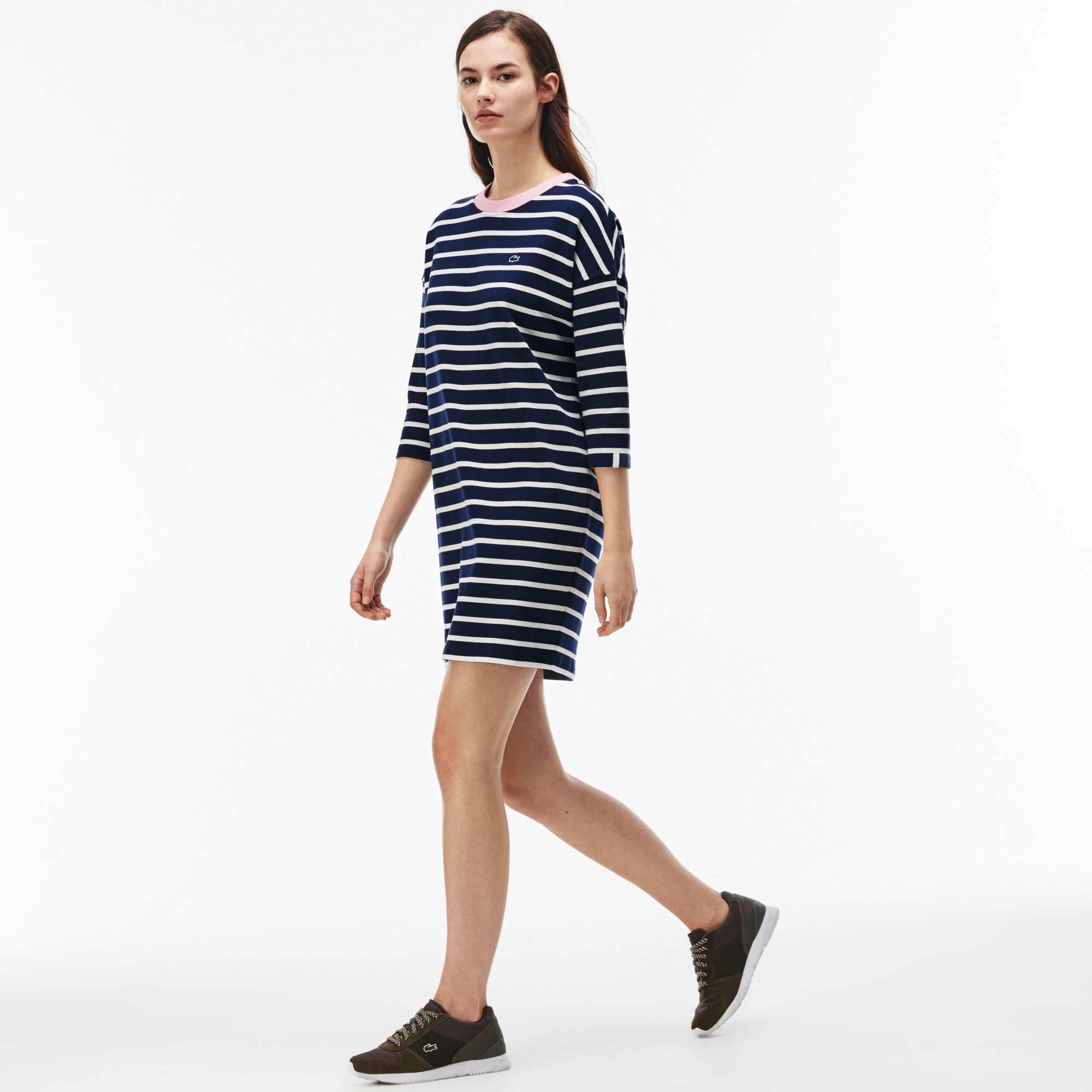 Women's Lacoste LIVE Striped Ottoman Knit Sweatshirt Dress