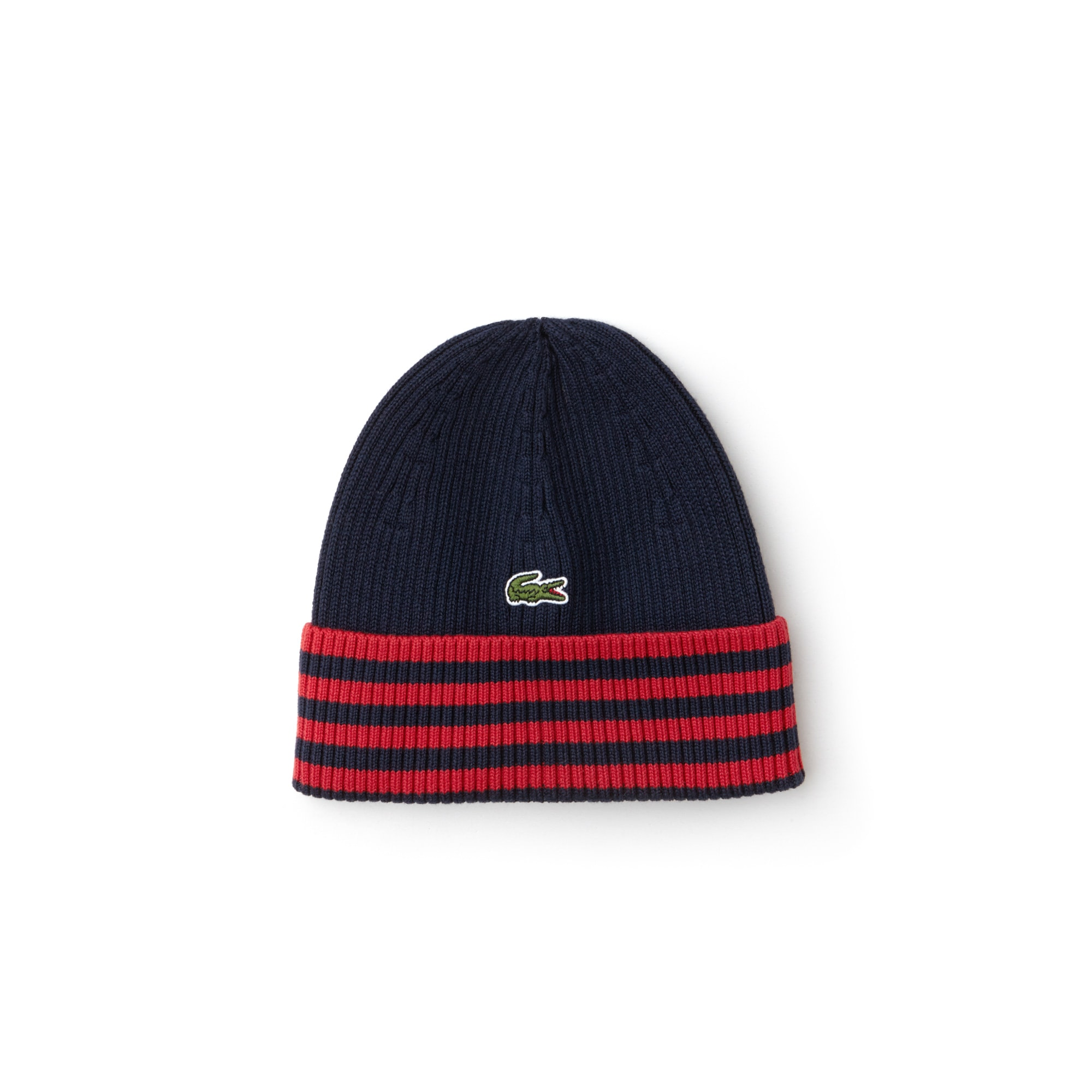 Men's Striped Turned Edge Ribbed Cotton Beanie