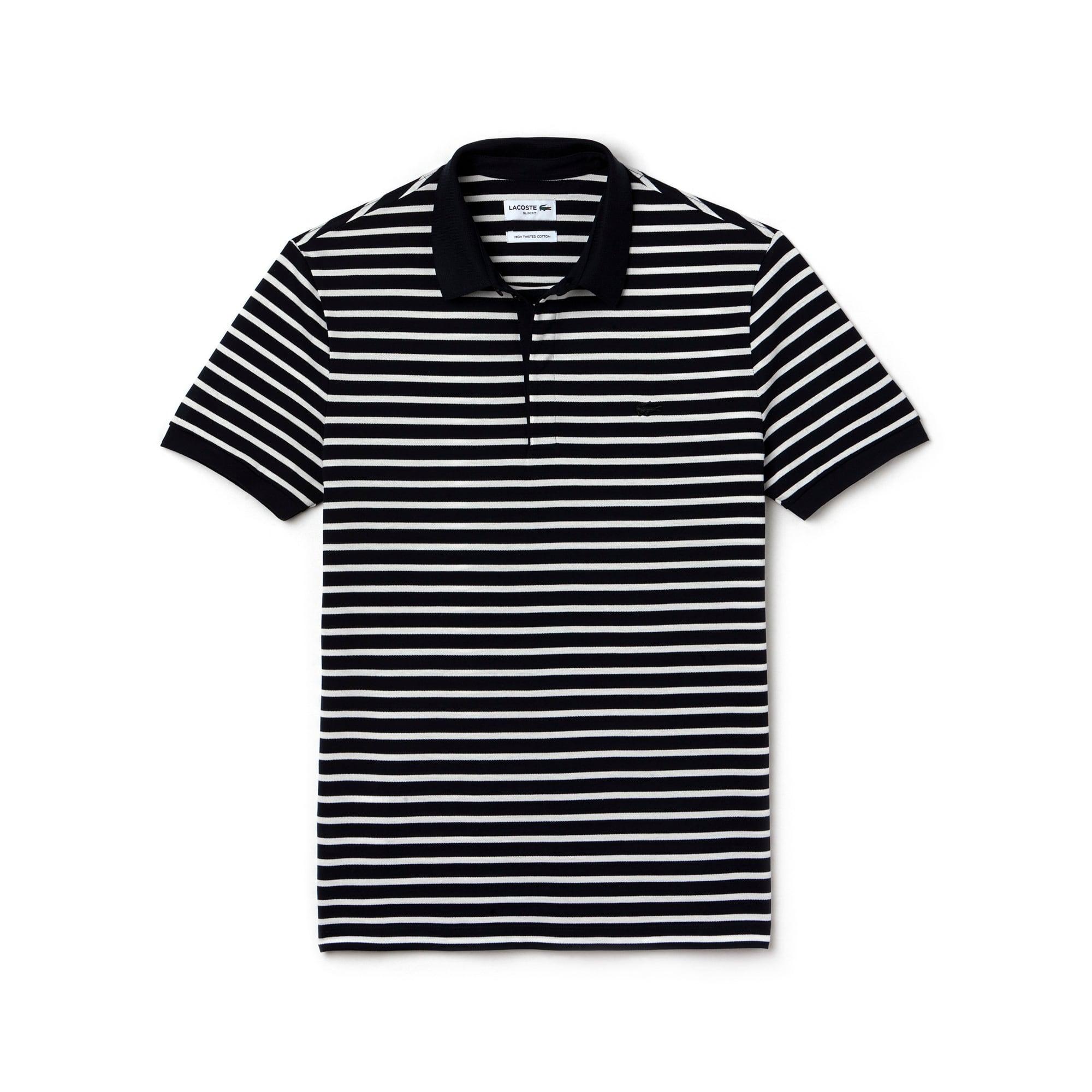 Men's Slim Fit Striped Cotton Petit Piqué Polo Shirt