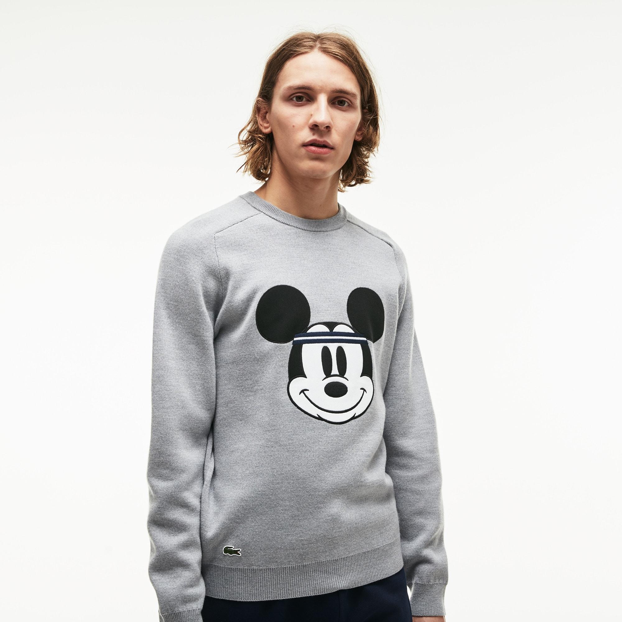 Men's Crew Neck Disney Mickey Embroidery Interlock Sweater