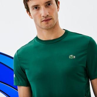 라코스테 스포츠 반팔 티셔츠 Mens SPORT Crew Neck Stretch Technical Jersey T-shirt - Lacoste x Novak Djokovic Off Court Premium Edition,Green / White