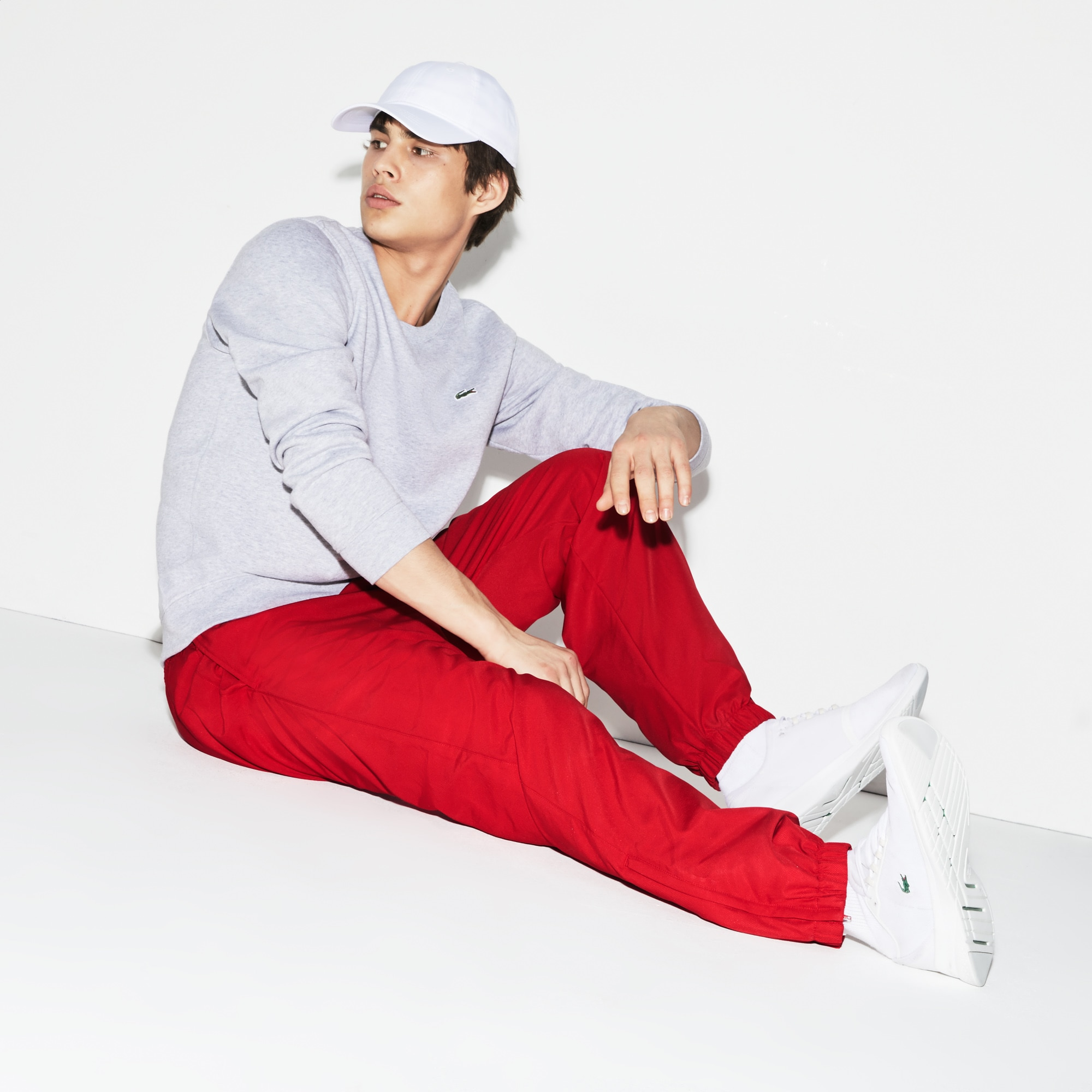 라코스테 Lacoste Men's SPORT Performance Side Zip Track Pants,Red - 240