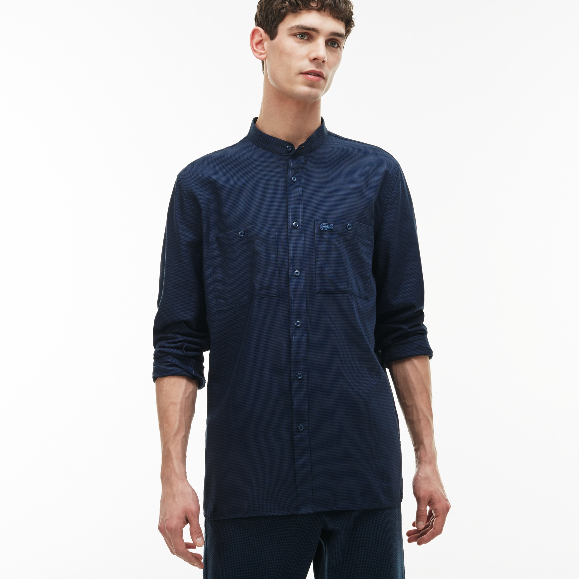 Men's Regular Fit Houndstooth Print Cotton Poplin Shirt