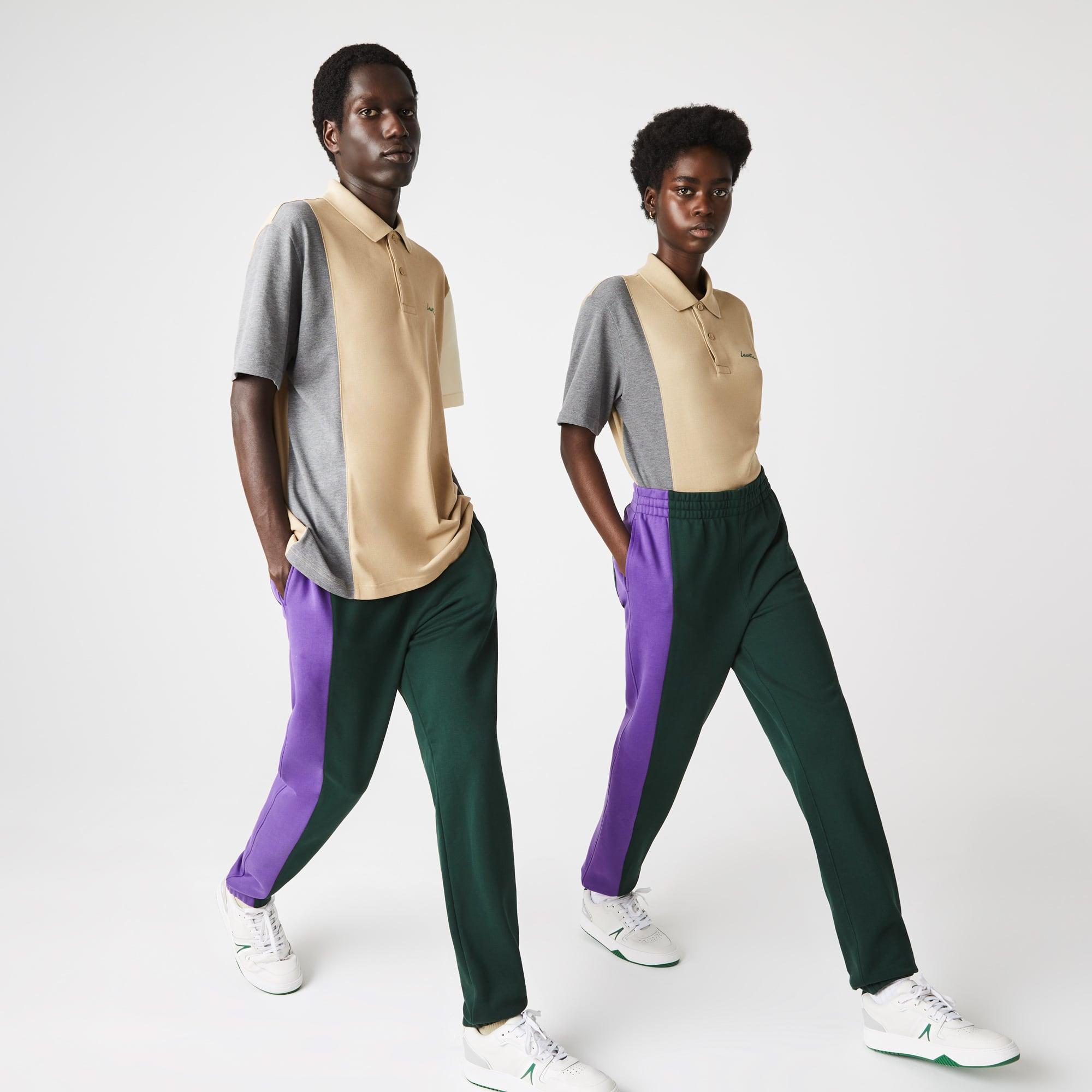 라코스테 라이브 남녀공용 트랙수트 팬츠 Lacoste Unisex LIVE Embroidered Two-Tone Fleece Tracksuit Pants,Green / Purple 17Y