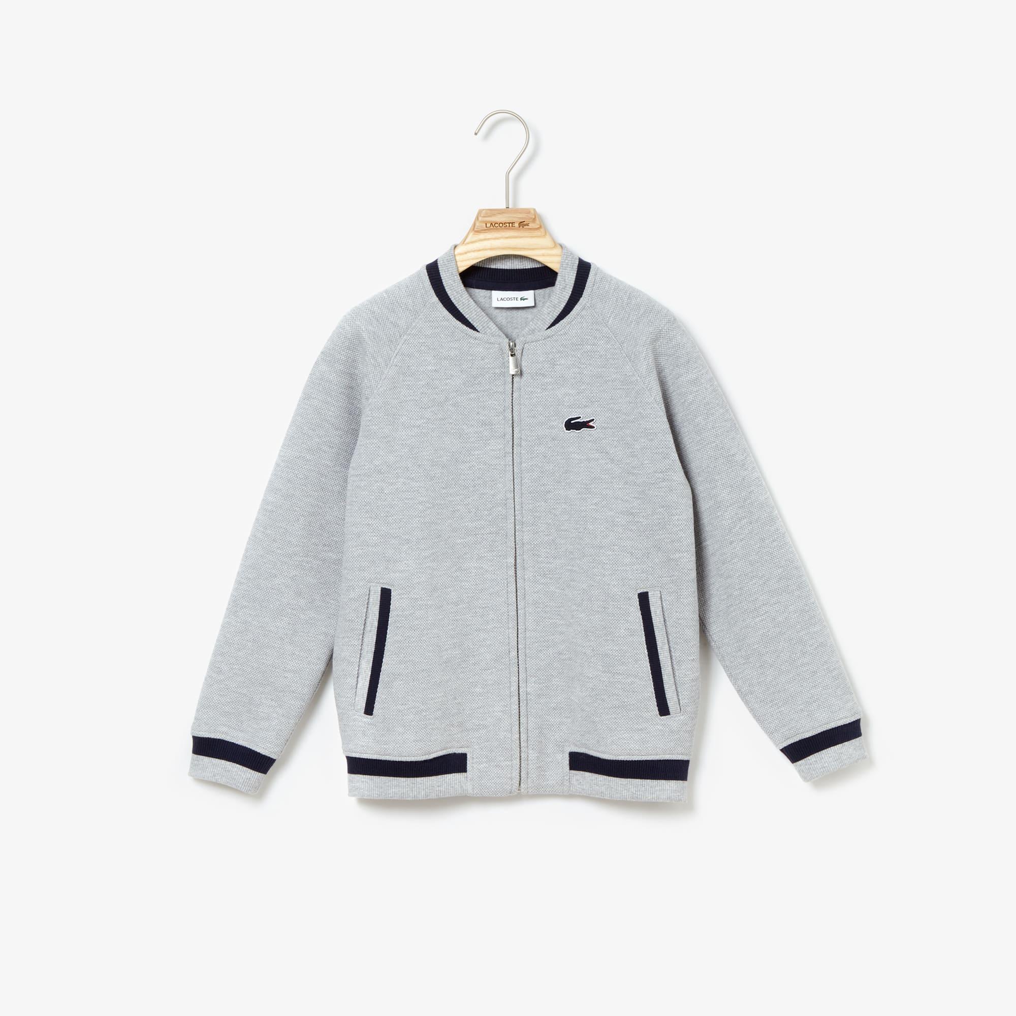 Boys' Teddy Neck Contrast Stripes Fleece Sweatshirt