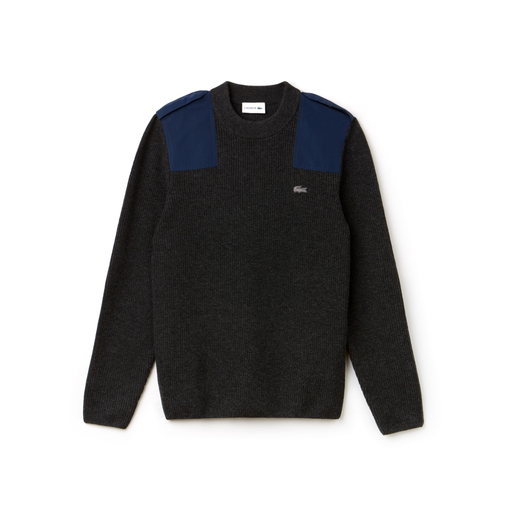 Men's Crew Neck Ribbed Wool And Cotton Sweater