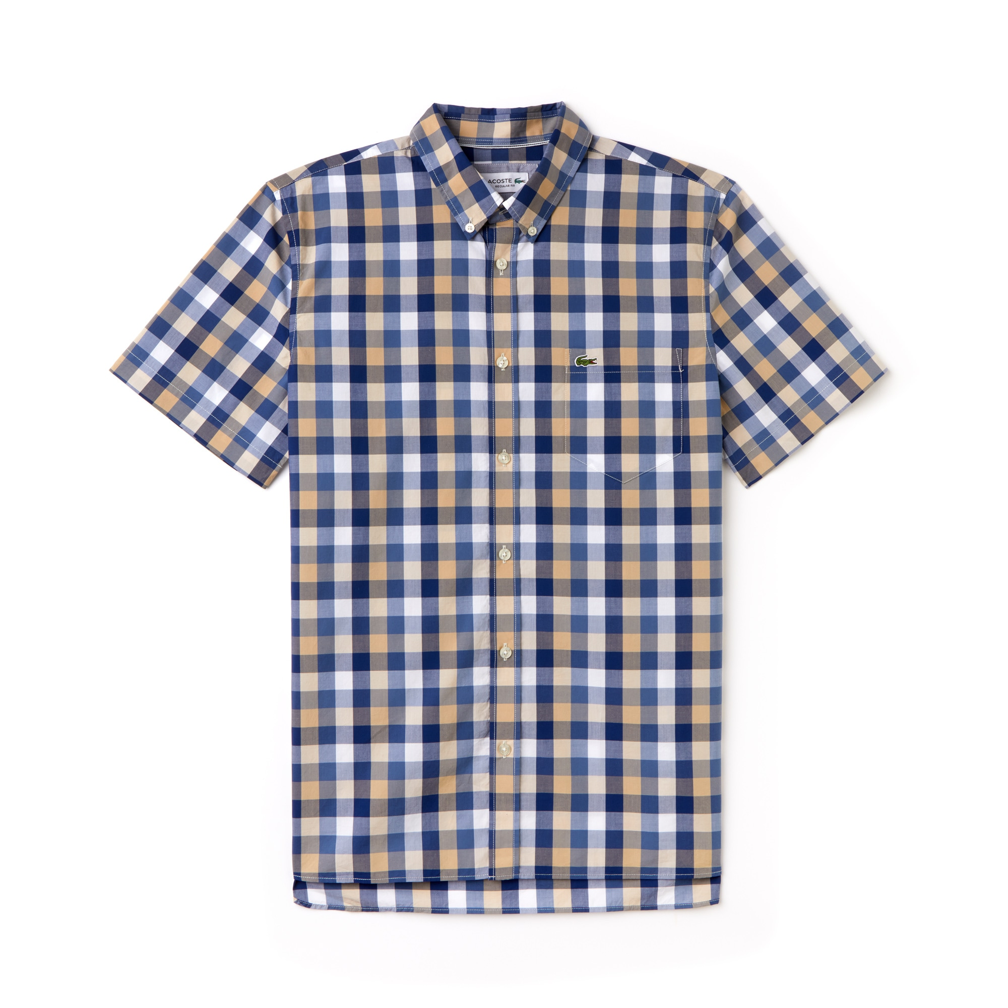 LACOSTE Men's Regular Fit Check Poplin Shirt