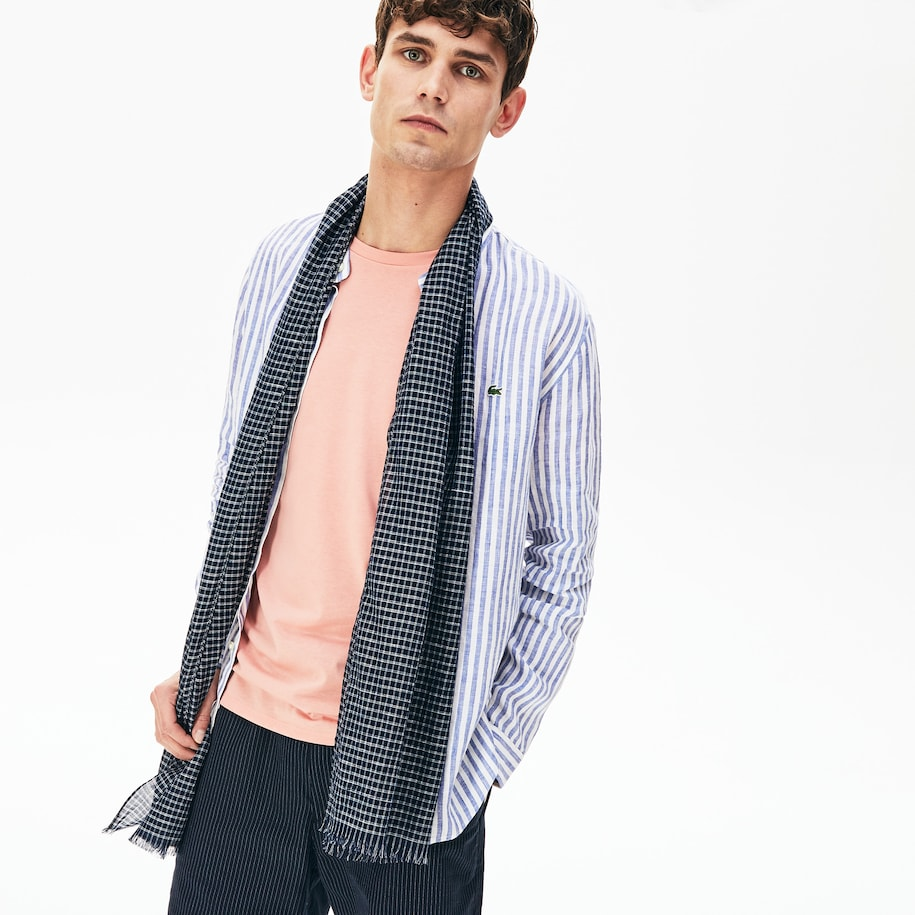Men's Cotton And Linen Rectangular Check Scarf