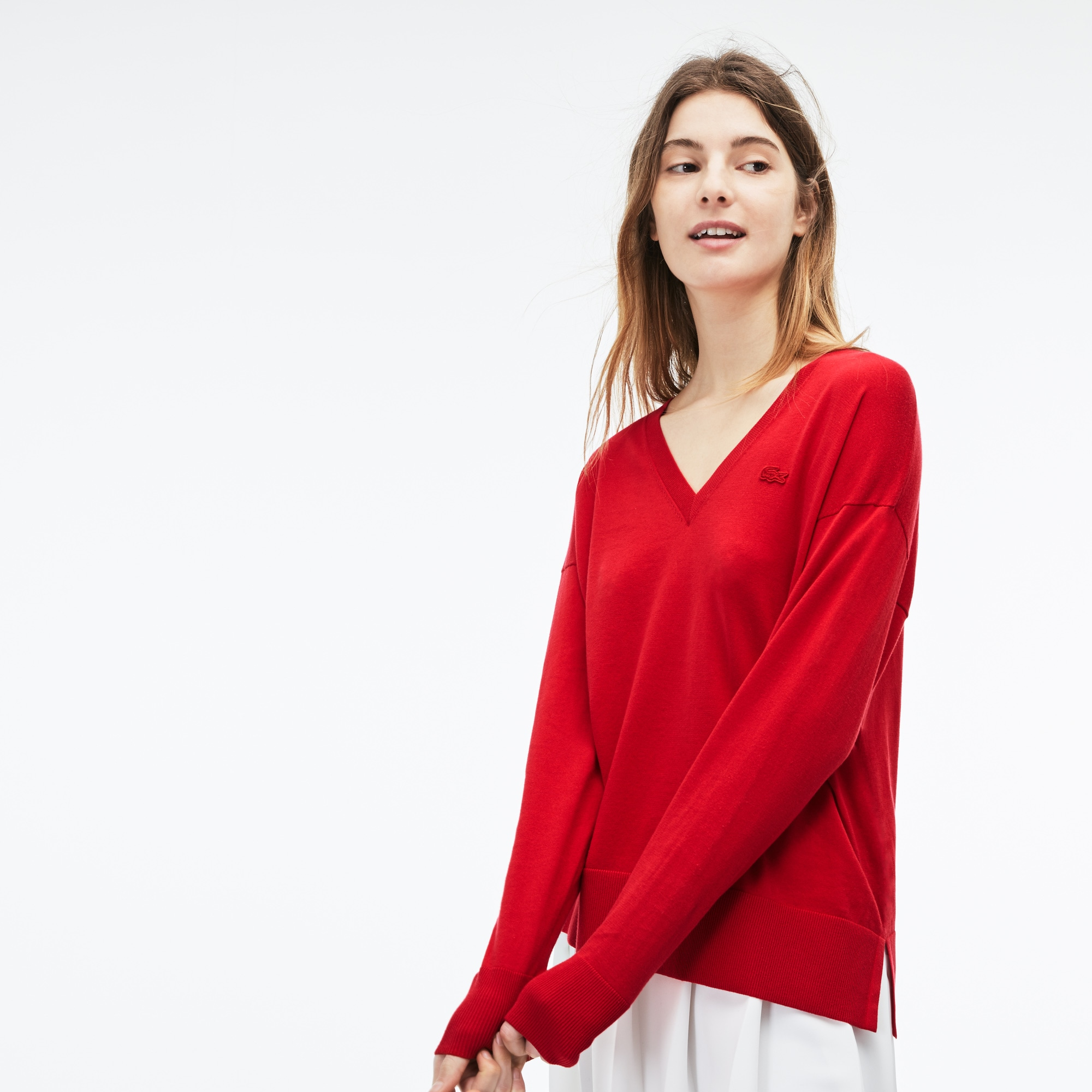 Women's V-neck Cotton Sweater