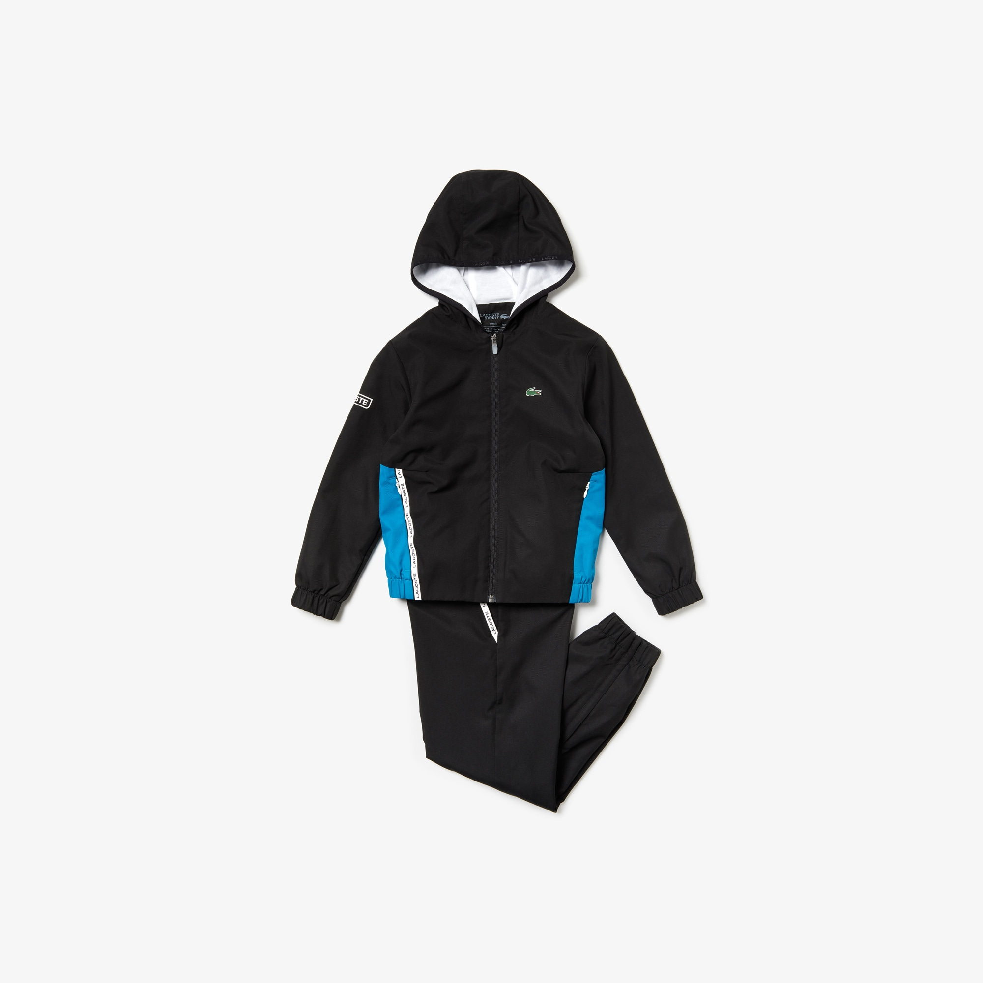 라코스테 Lacoste Boys SPORT Two-Tone Tennis Track Suit,Black / Blue / White - 4XU