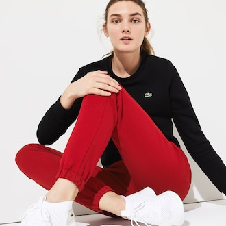 라코스테 스포츠 우먼 시그니처 플리스 스웻팬츠 Lacoste Womens SPORT Signature Waistband Fleece Sweatpants,Bordeaux / Black / White