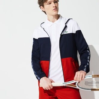 라코스테 Lacoste Mens SPORT Colorblock Tennis Jacket,White / Navy Blue / Red - A10 (Selected colour)