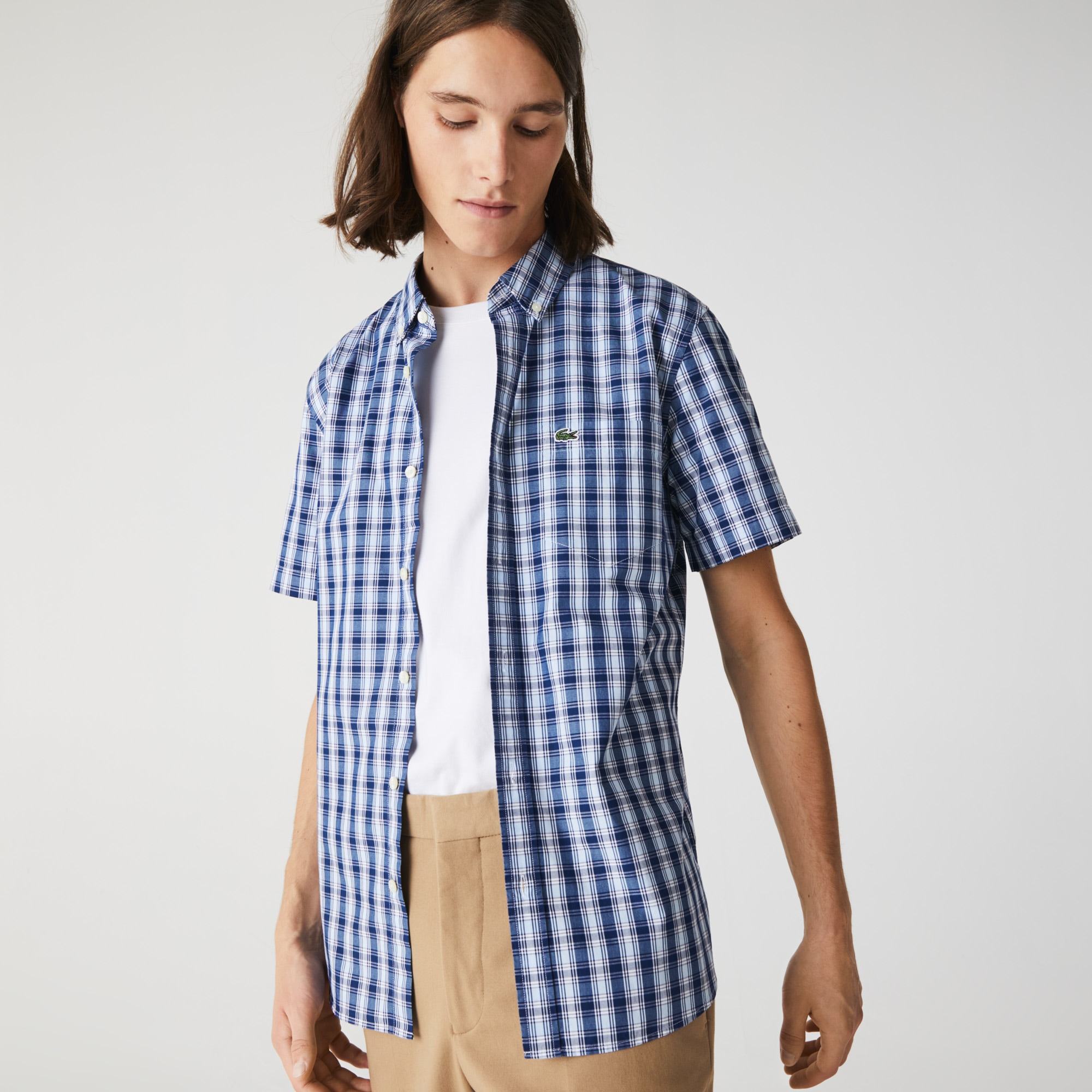 라코스테 Lacoste Mens Slim Fit Checked Poplin Shirt