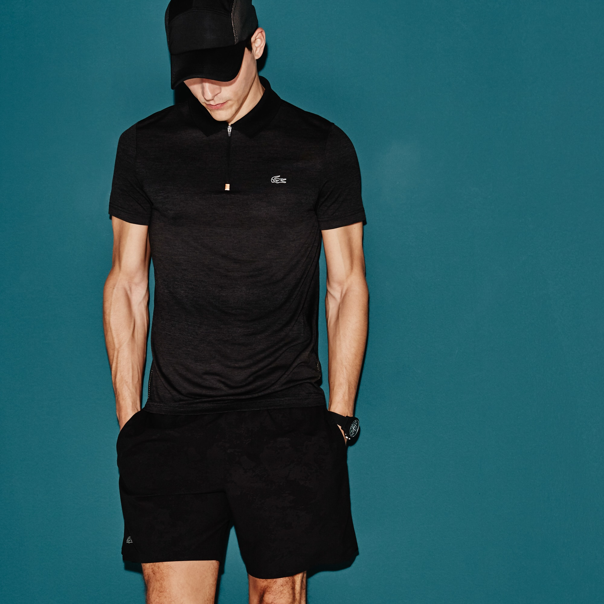 Men's  SPORT Tennis Zip Neck Mesh Back Tech Jersey Polo