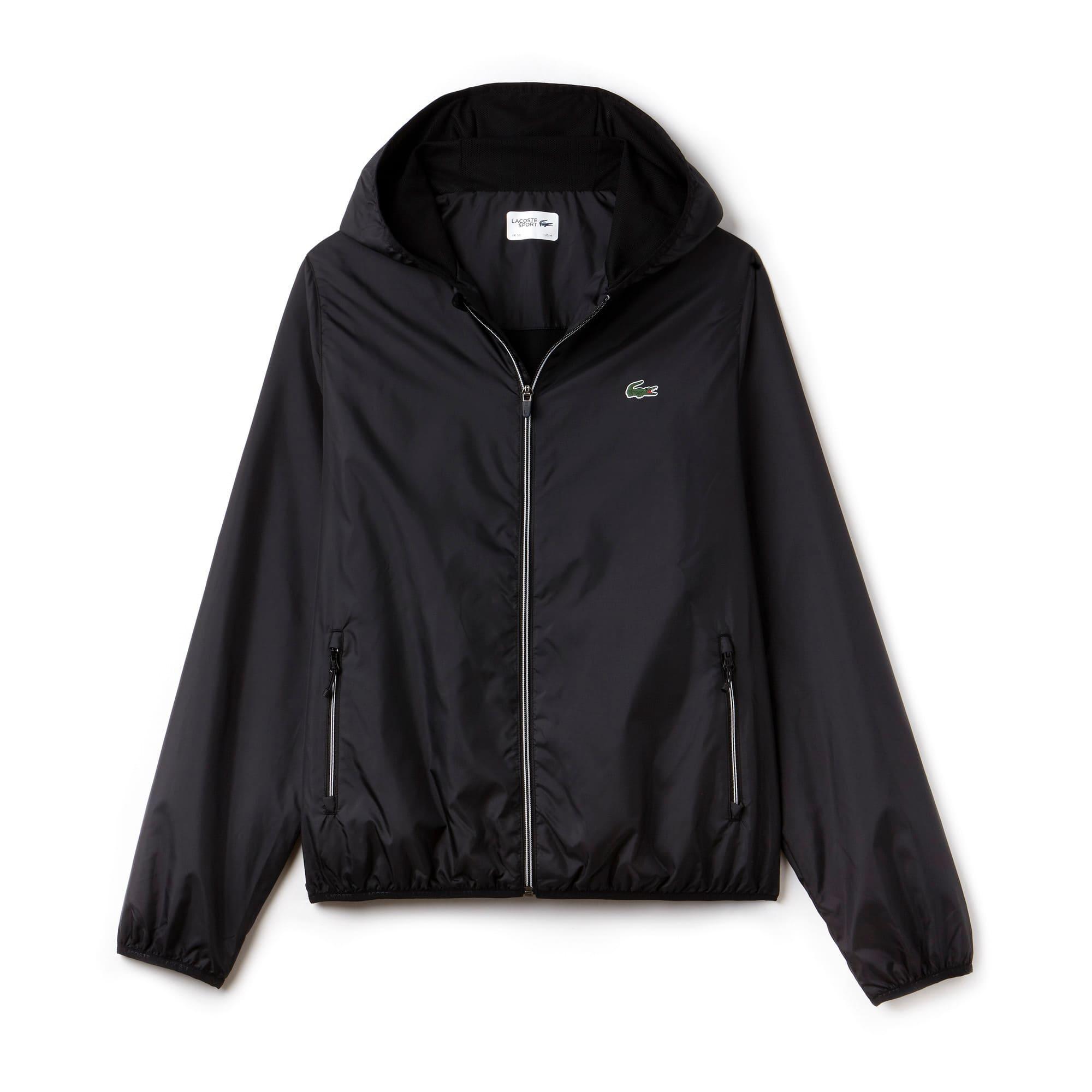 라코스테 Lacoste Mens SPORT Tennis Water-Resistant Hooded Jacket,BLACK/BLACK