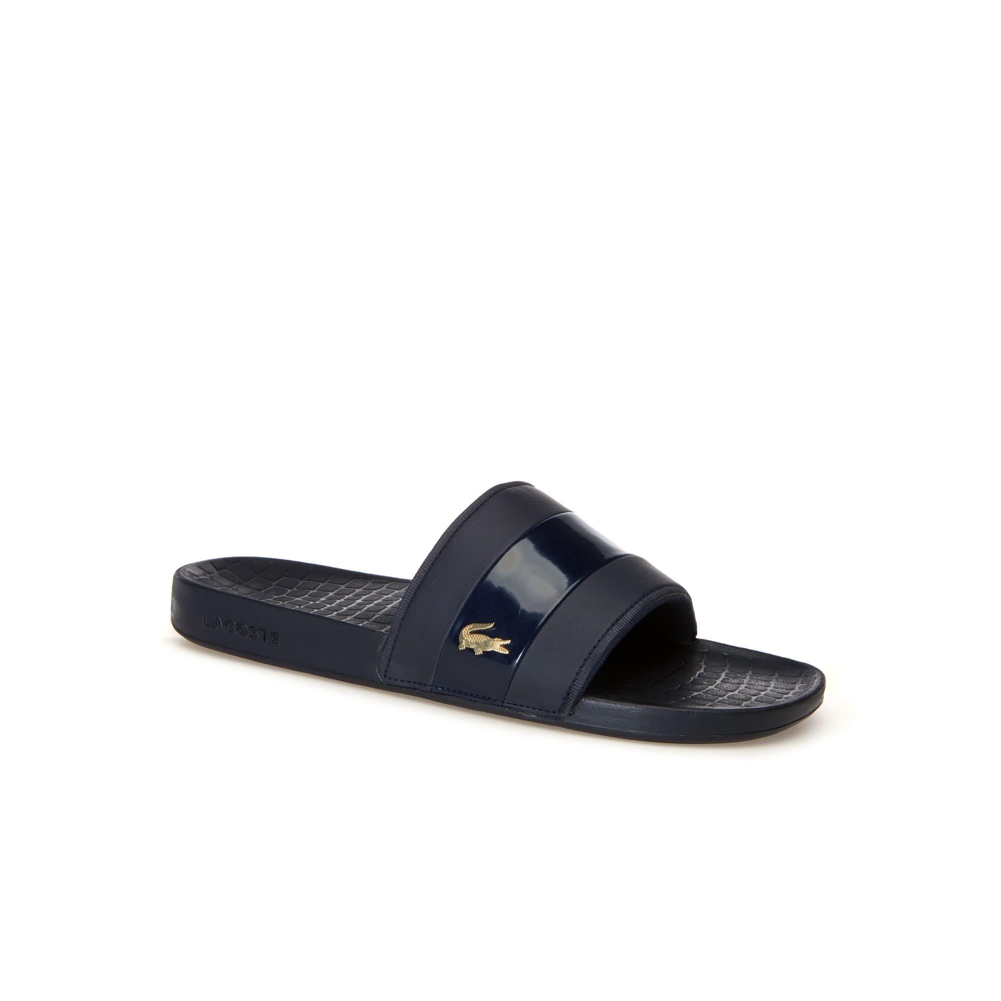 라코스테 Lacoste Men's Fraisier Leather Slides,navy/gold