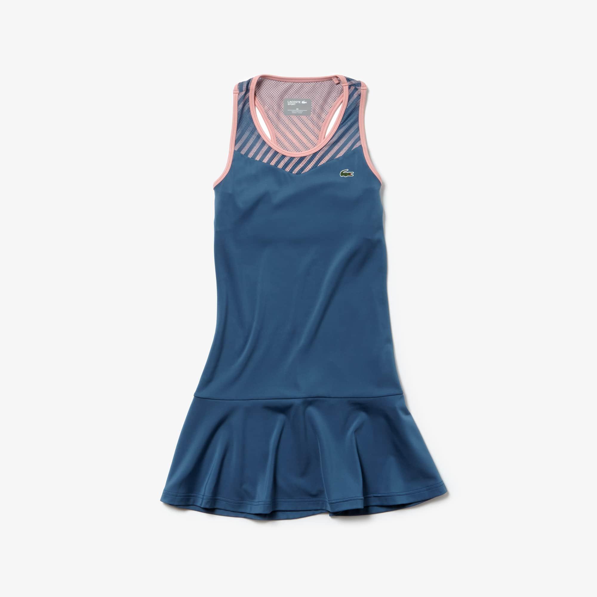 라코스테 Lacoste Womens SPORT Racerback Jersey Tennis Dress,Blue / Pink