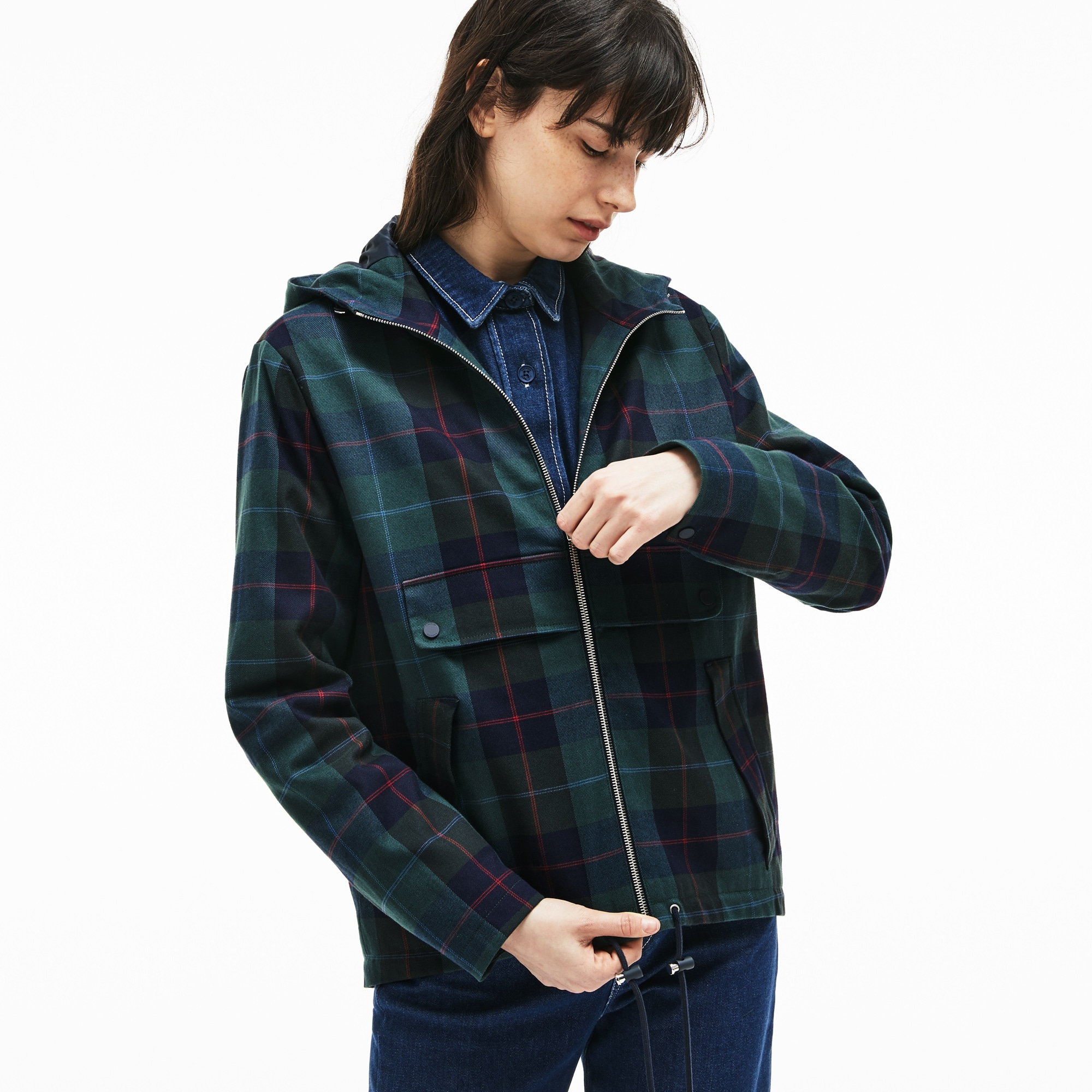 Women's Tartan Check Print Cotton Canvas Zippered Pea Coat