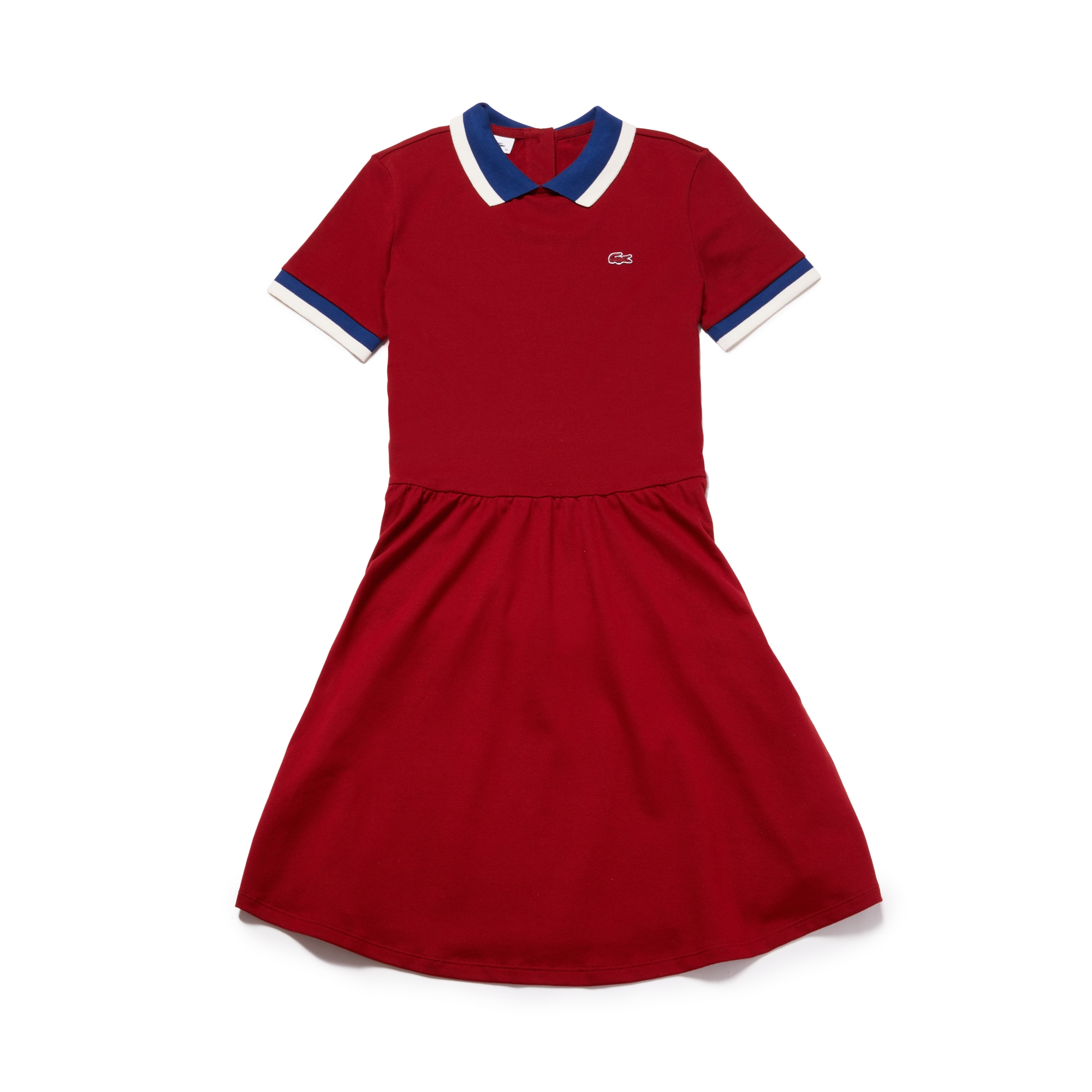 라코스테 피케 원피스 레드 Lacoste Womens Contrast Finishes Flared Stretch Mini Pique Polo Dress,passion/inkwell-geode