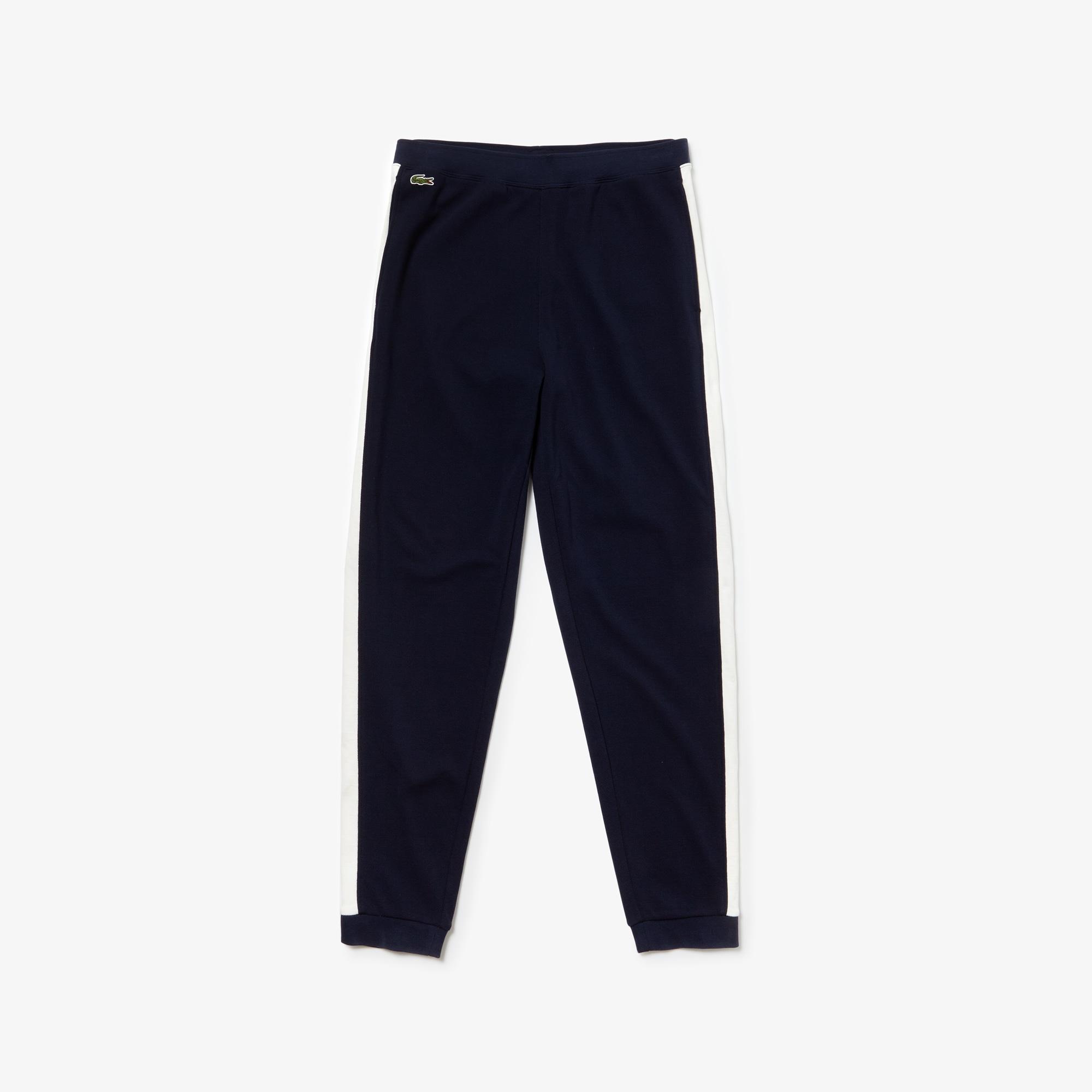 라코스테 Lacoste Mens Pique Fleece Sweatpants,Navy Blue / White
