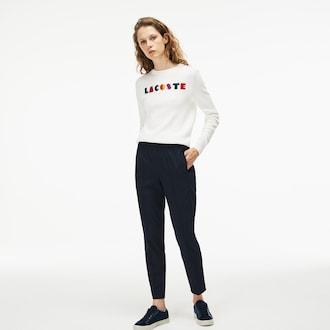 라코스테 조거팬츠 Lacoste Womens City Jog Regular Fit Striped Stretch Urban Jogging Pants,Navy Blue