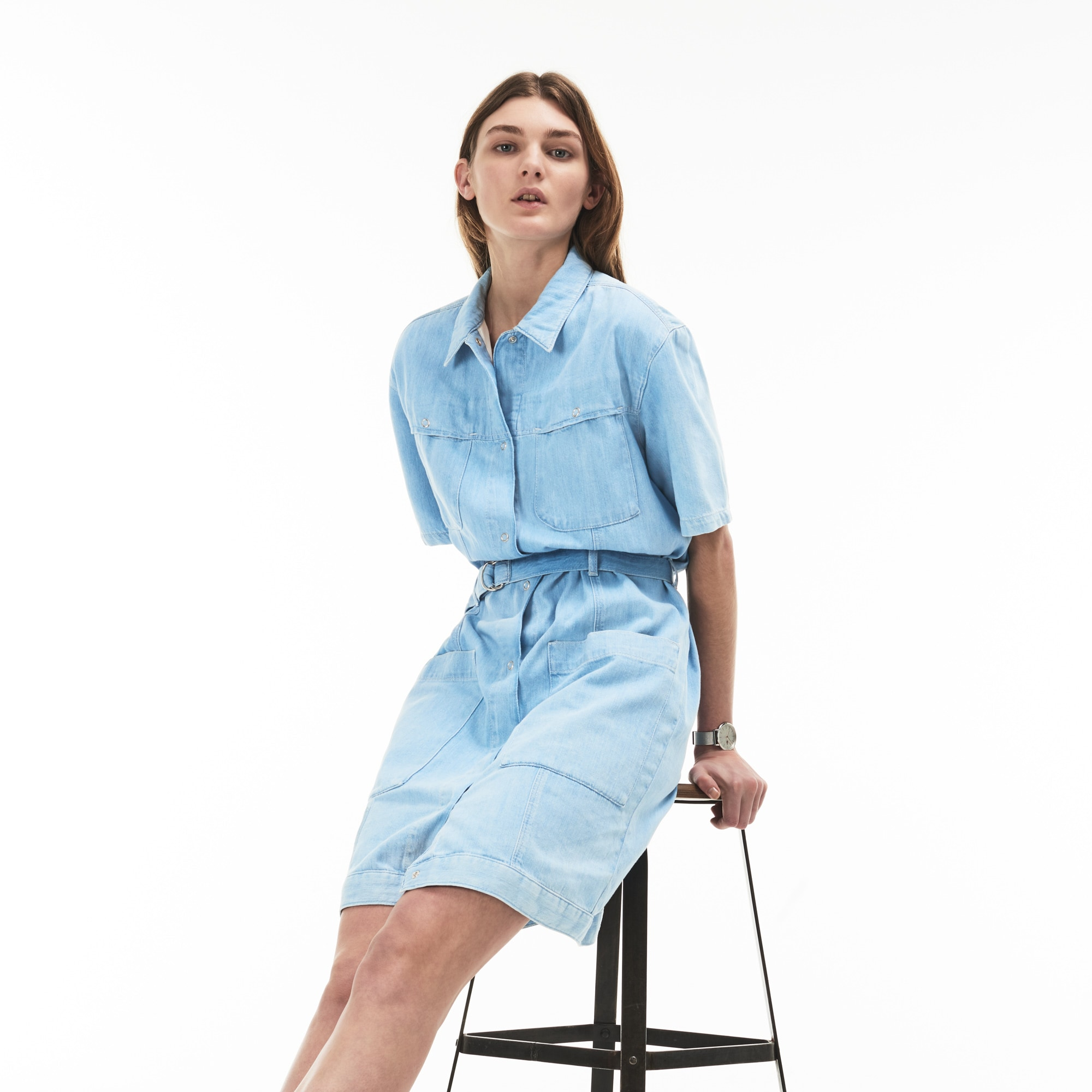 Women's Multi-Pocket Denim Belted Dress