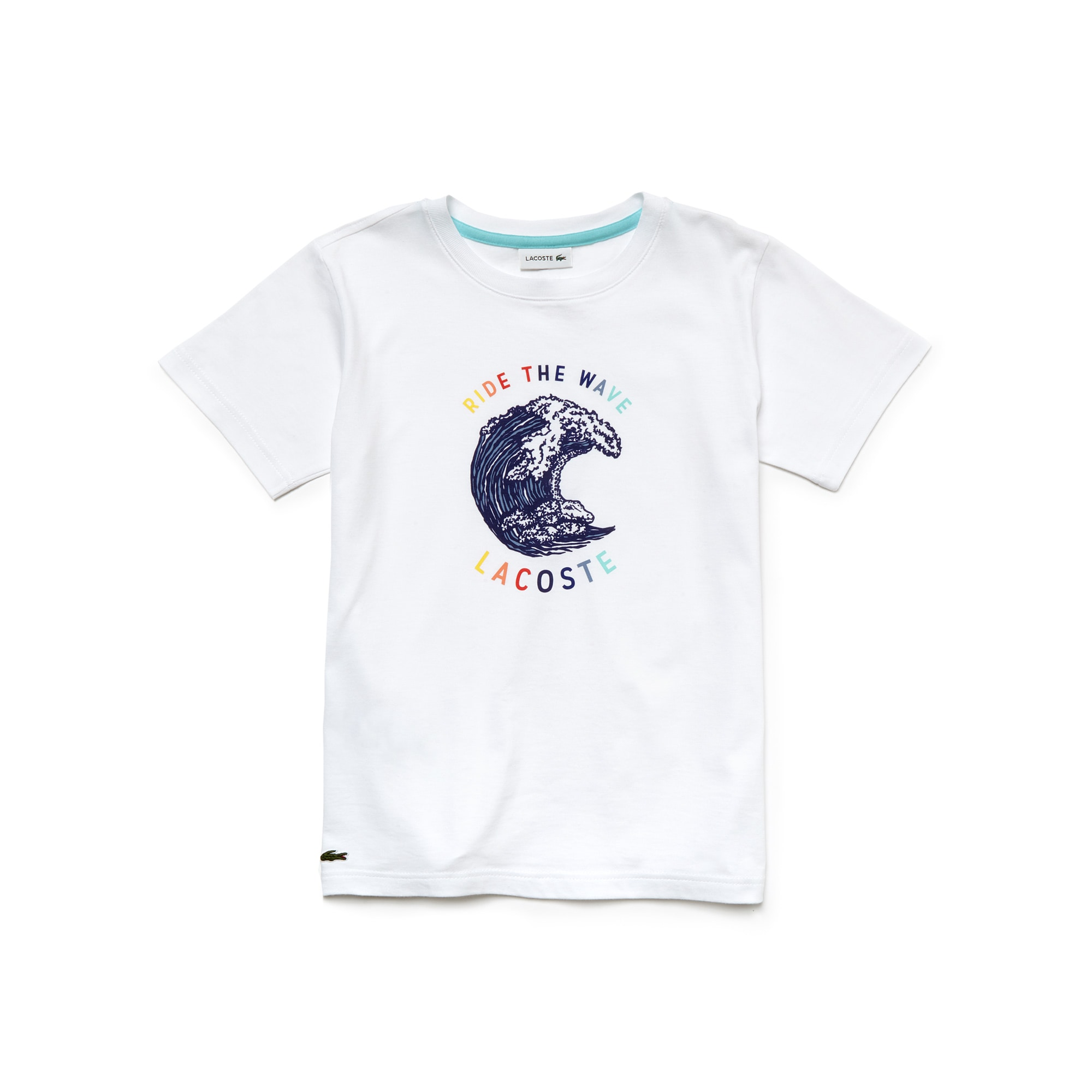 Boy's Crew Neck Flecked Jersey Wave Print T-Shirt