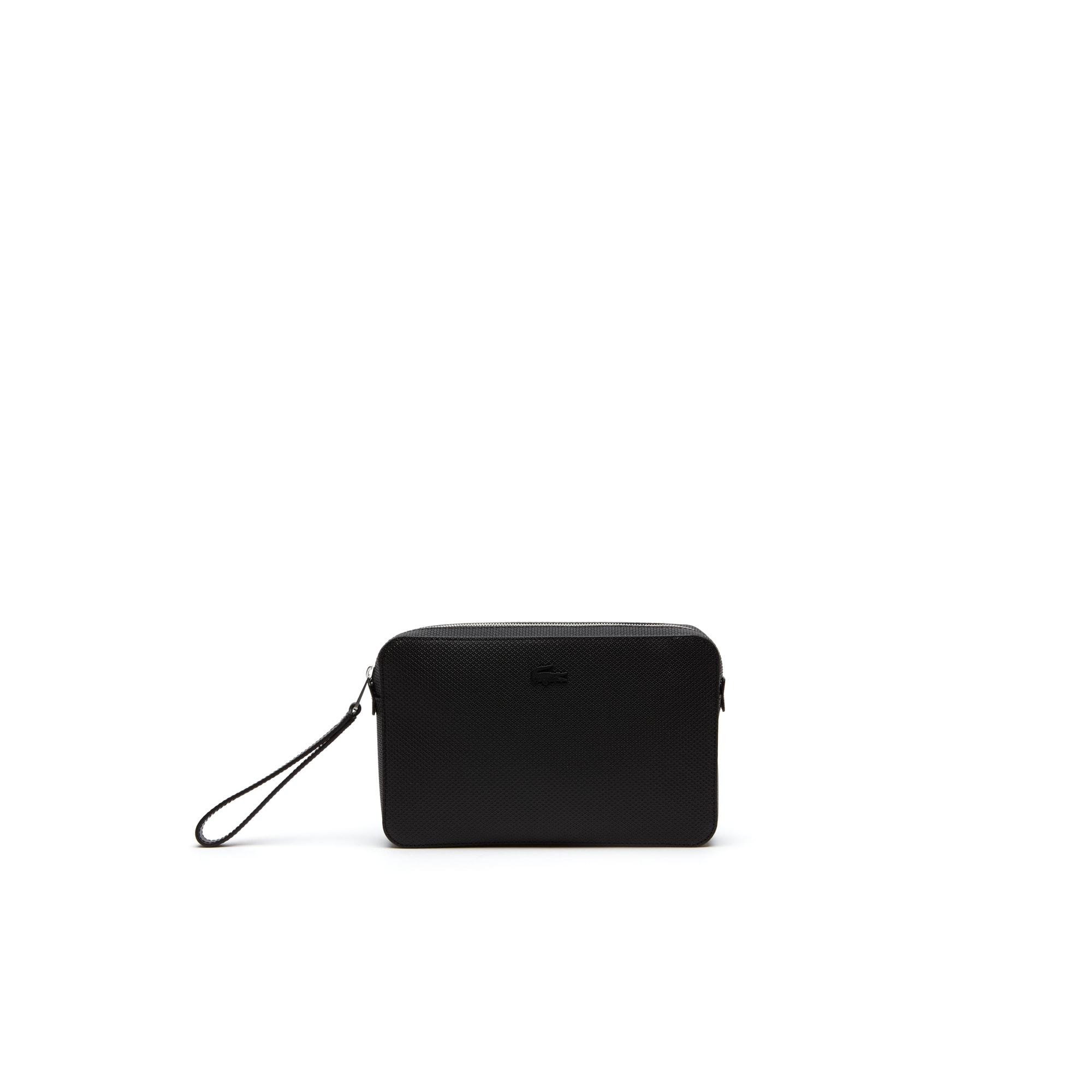 라코스테 Lacoste Mens Chantaco Pique Leather Zip Pouch,black