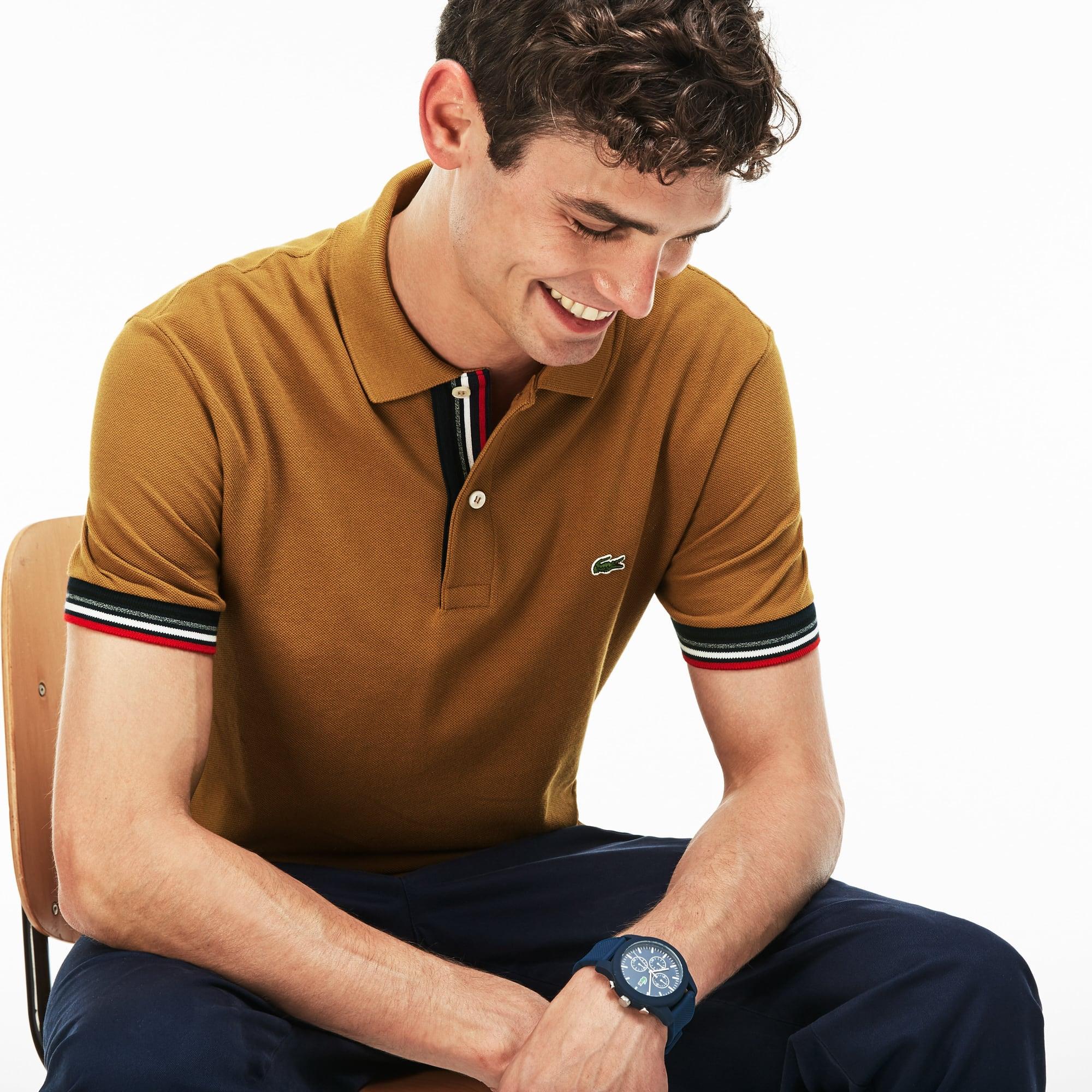 Men's  Slim Fit Piped Two-Ply Cotton Petit Piqué Polo