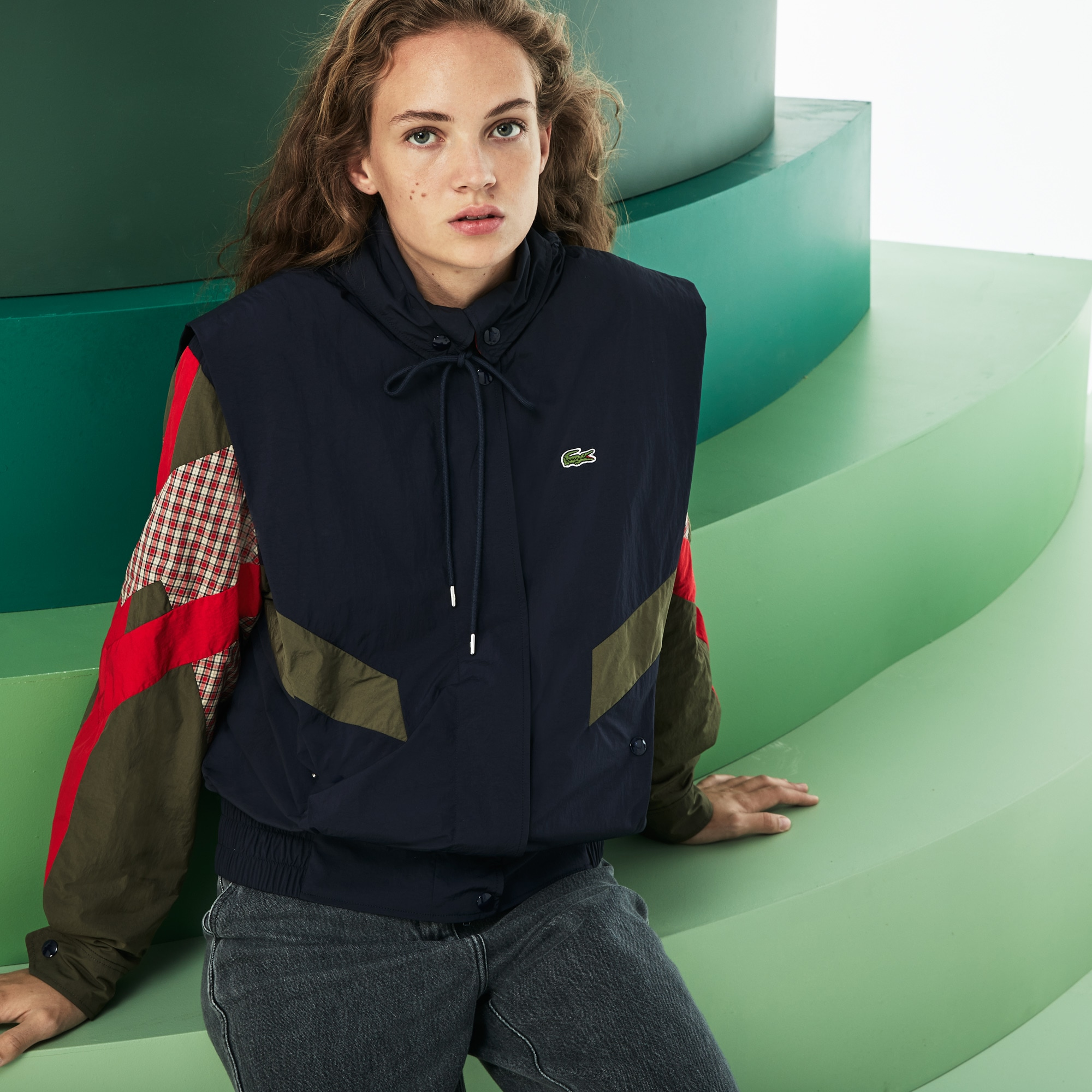 Women's Fashion Show Hooded Technical Canvas Coat