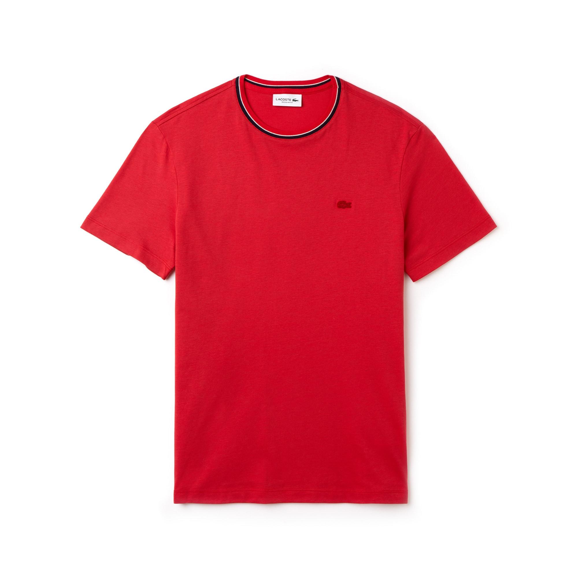 Men's Contrasting Crew Neck Flamme Cotton Jersey T-shirt