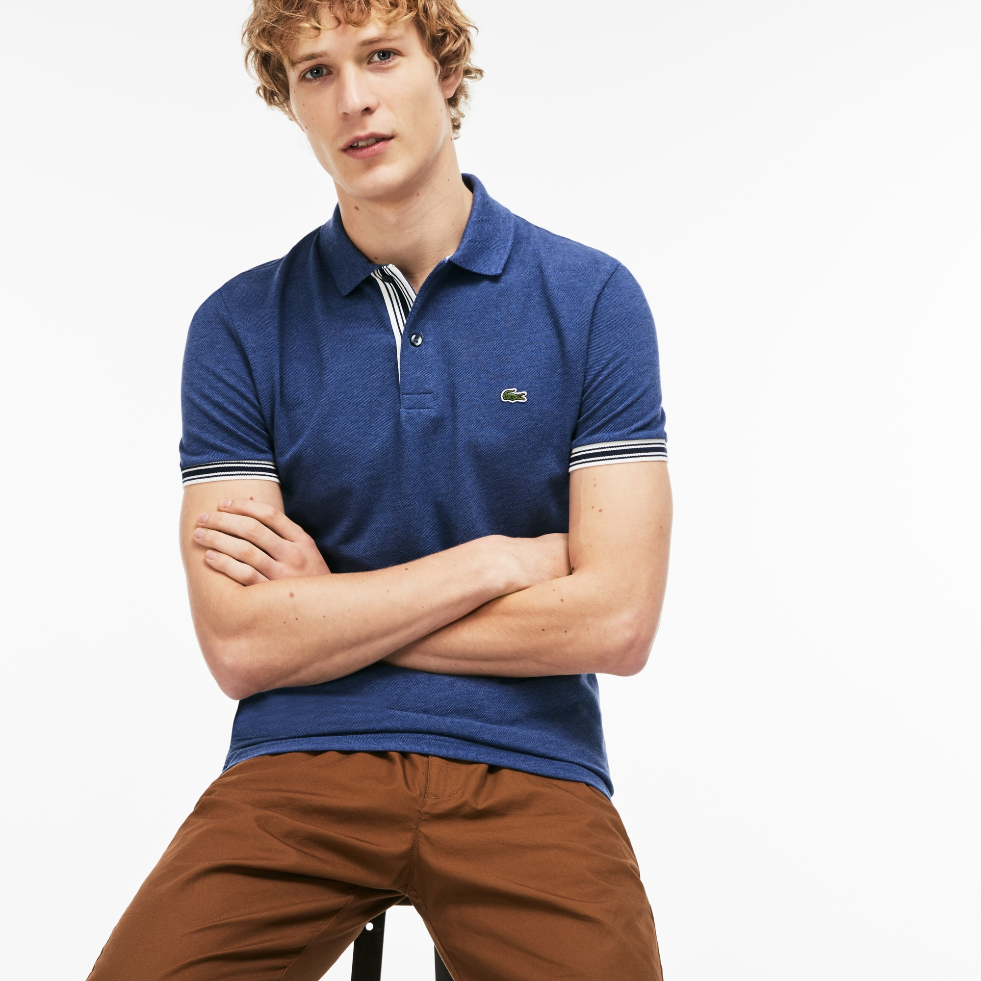 Men's Lacoste Slim Fit Piped Sleeves Petit Piqué Polo