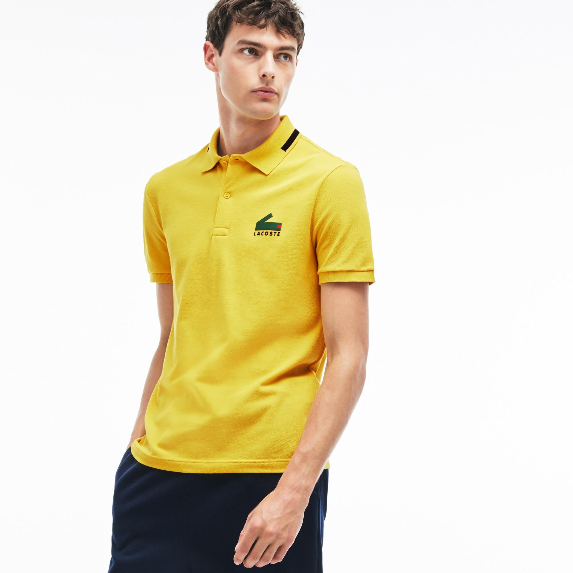 Men's  Slim Fit Graphic Print Stretch Mini Piqué Polo