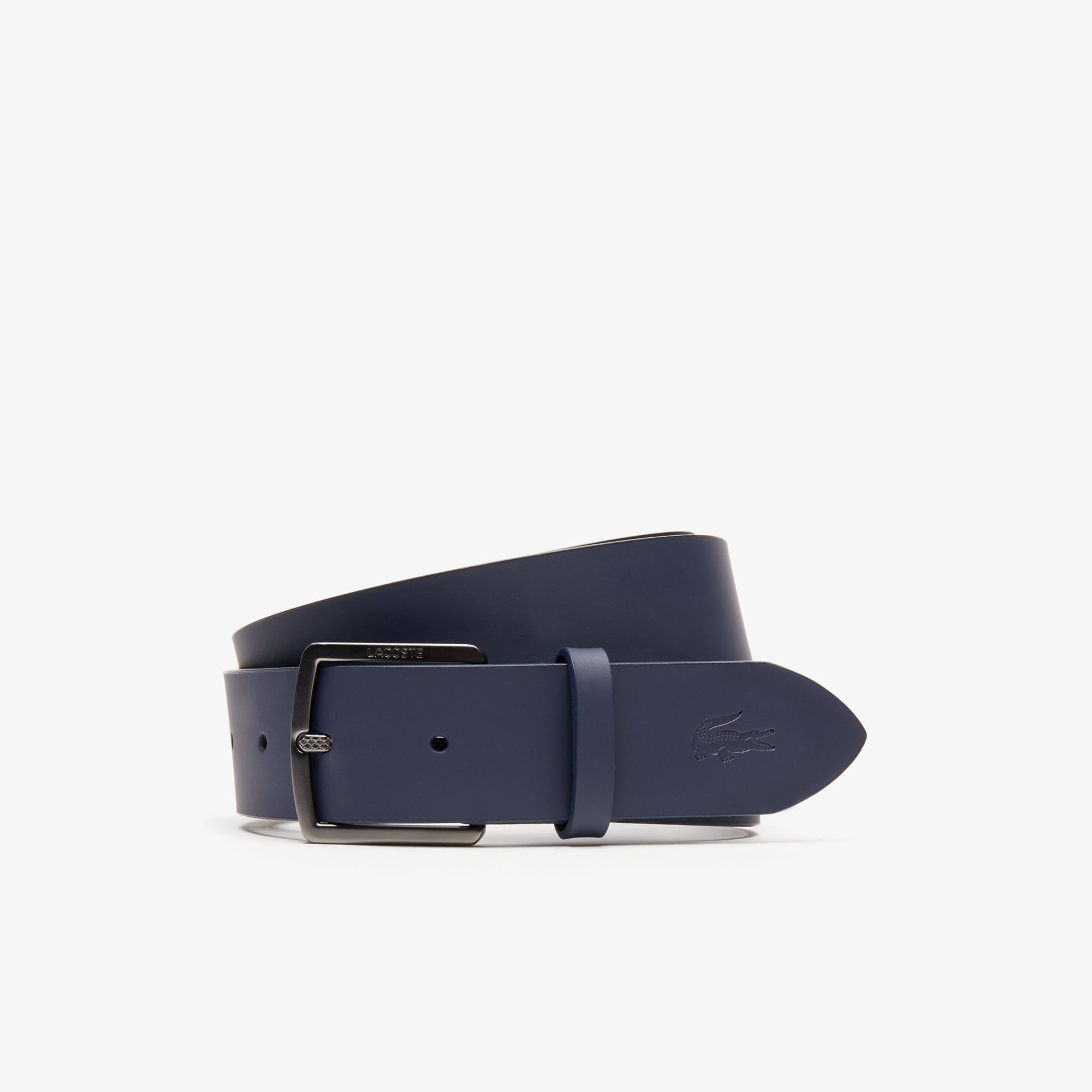 Lacoste Belts Men's Engraved-Buckle Smooth Leather Belt