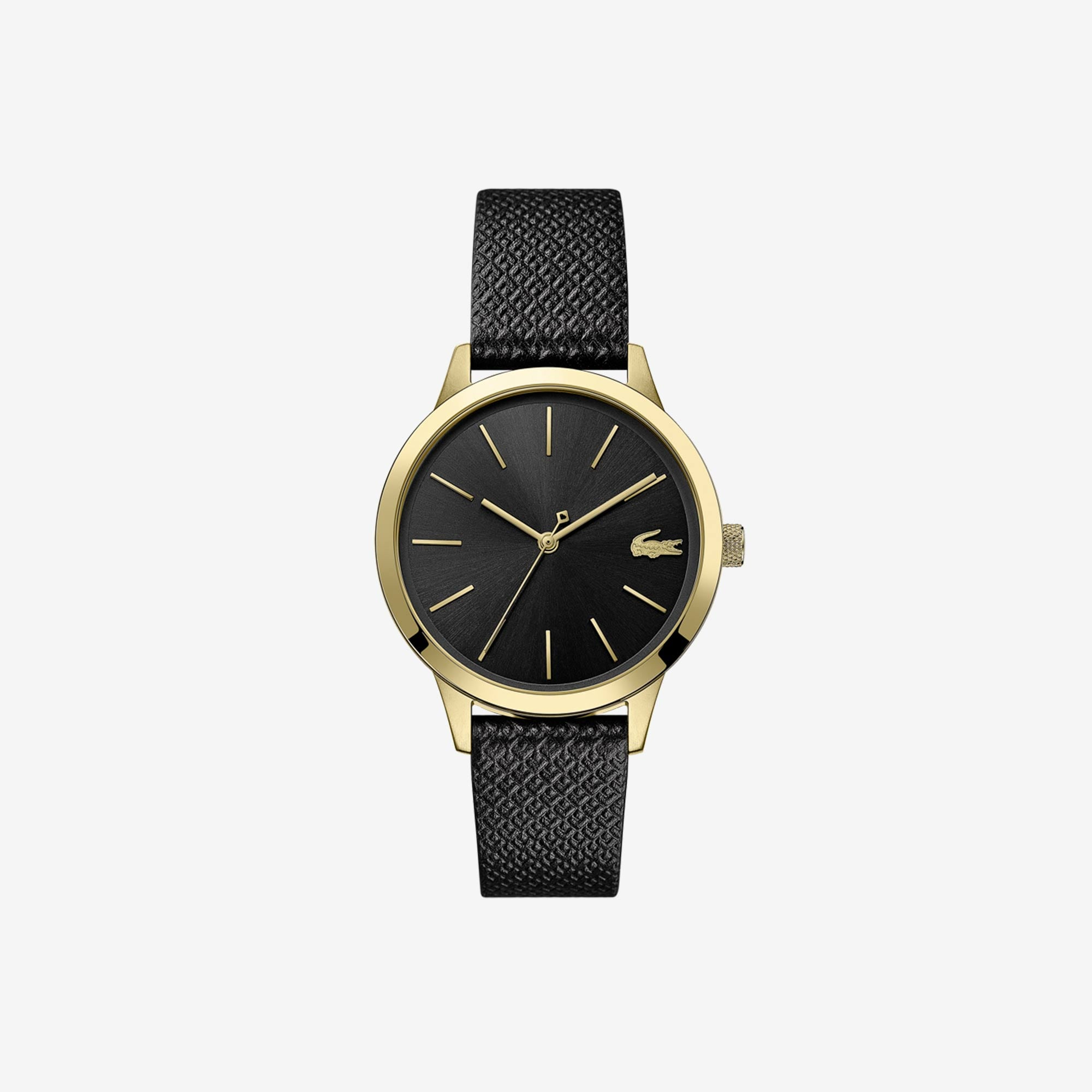 Ladies Lacoste 12.12 Premium Watch with Black Leather Petit Piqué Strap