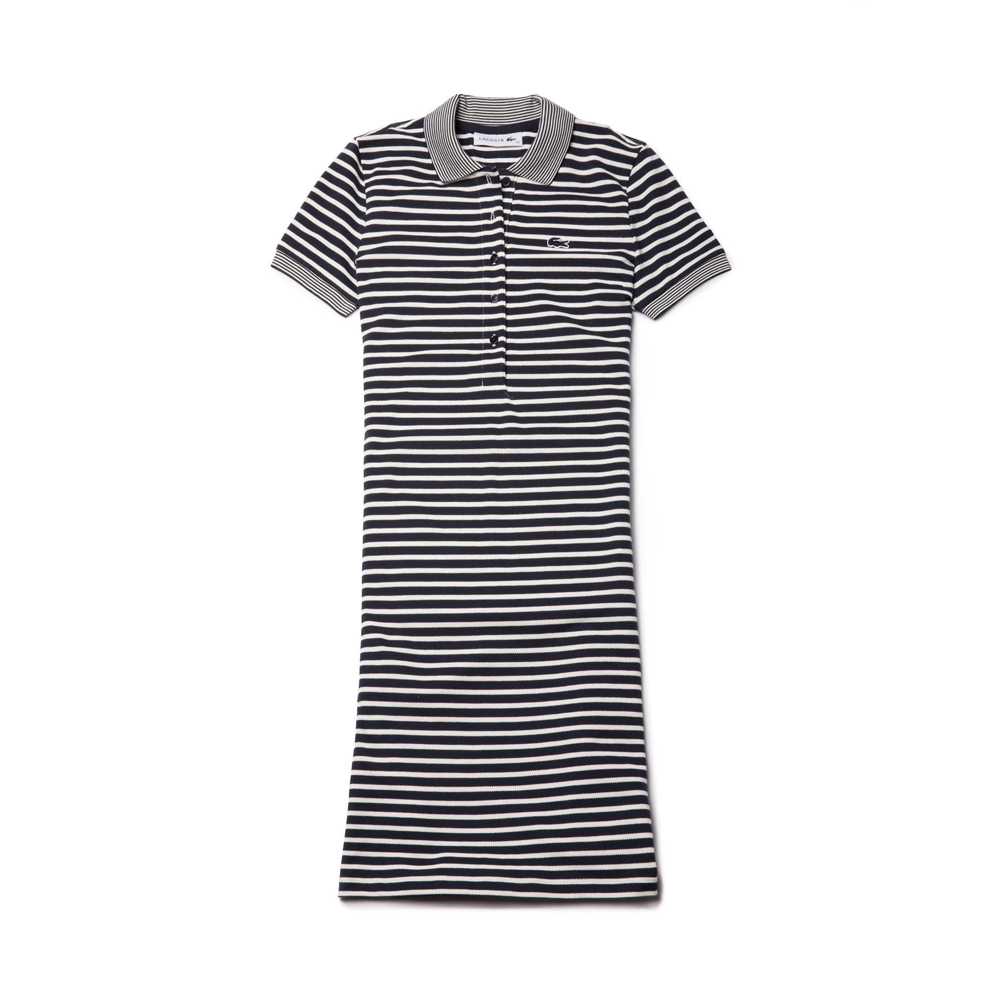 Women's Striped Stretch Mini Cotton Piqué Polo Dress