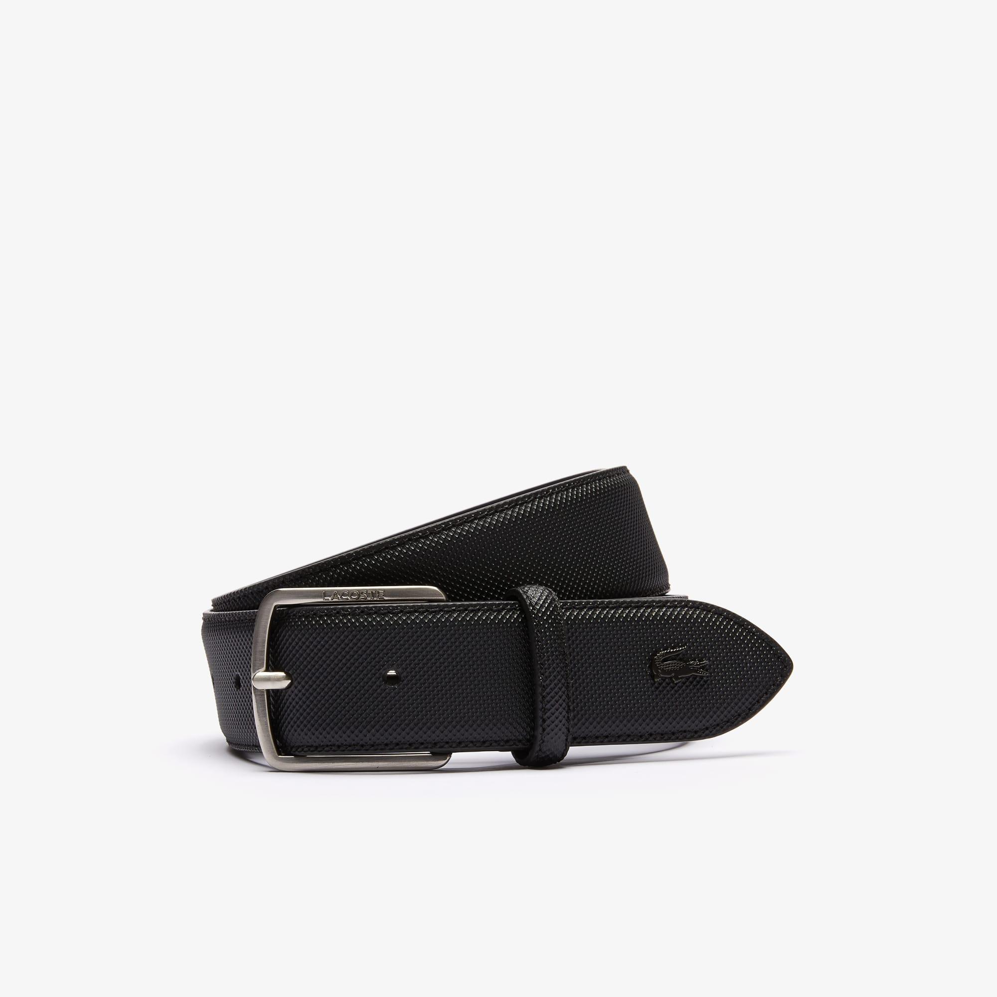 Lacoste Belts Men's Engraved-Buckle Piqué Canvas Belt