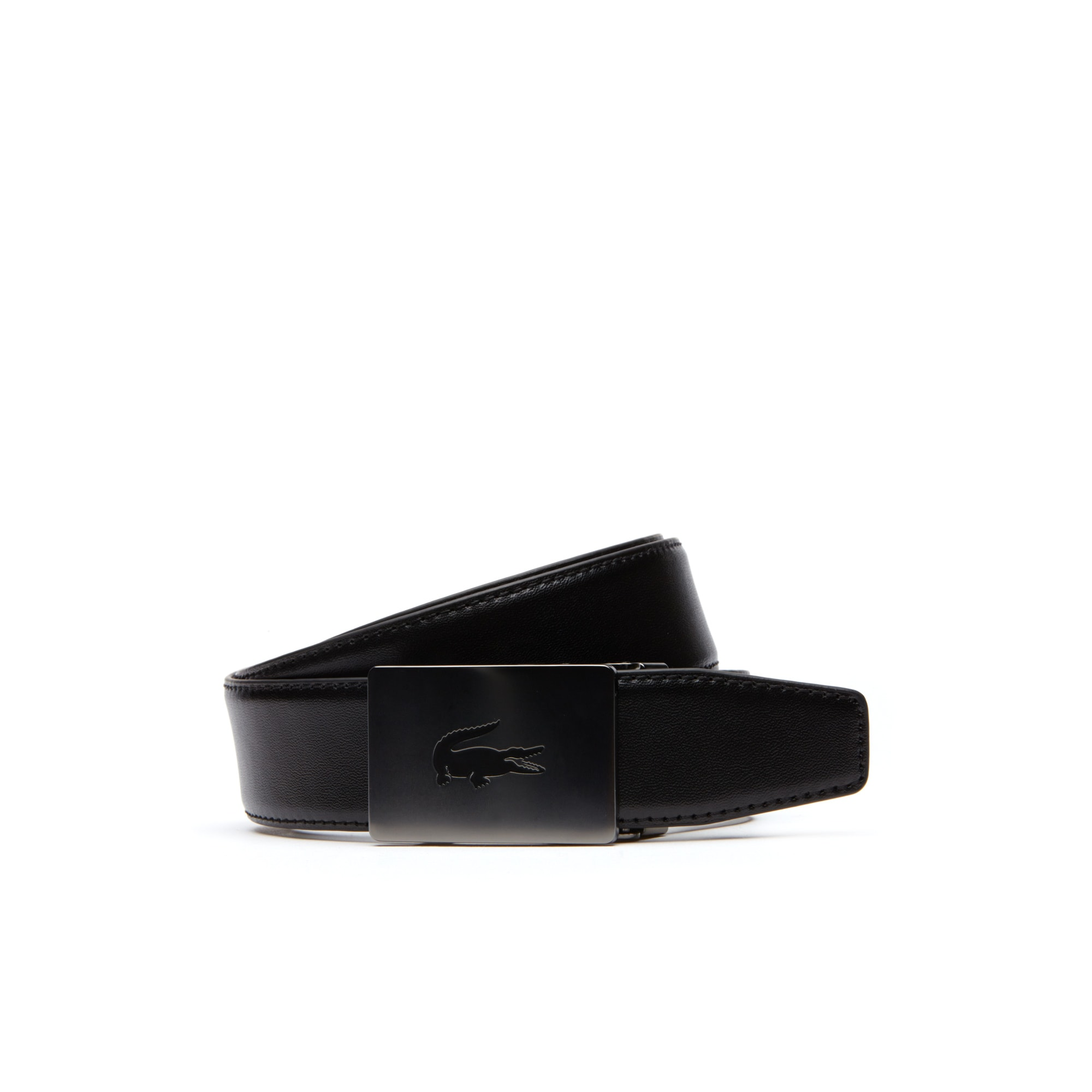 Men's Slip-Fit Plate Buckle Stretch Leather Belt