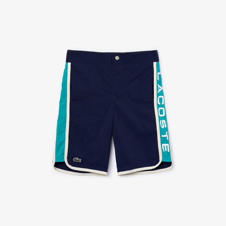 Boys' Colorblock Logo Lettering Swim Trunks