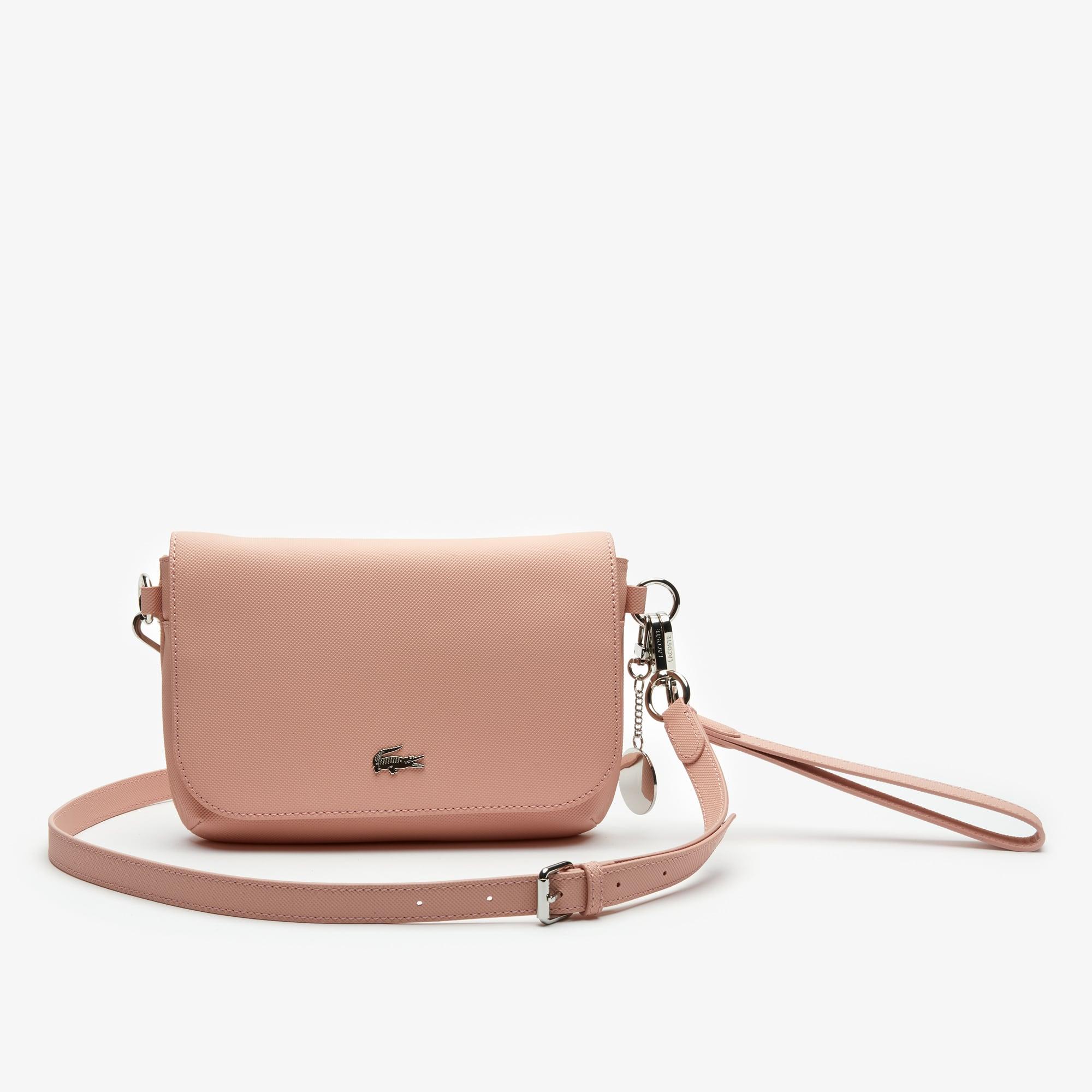 라코스테 Lacoste Womens Daily Classic Coated Pique Canvas Flap Shoulder Bag,mellow rose