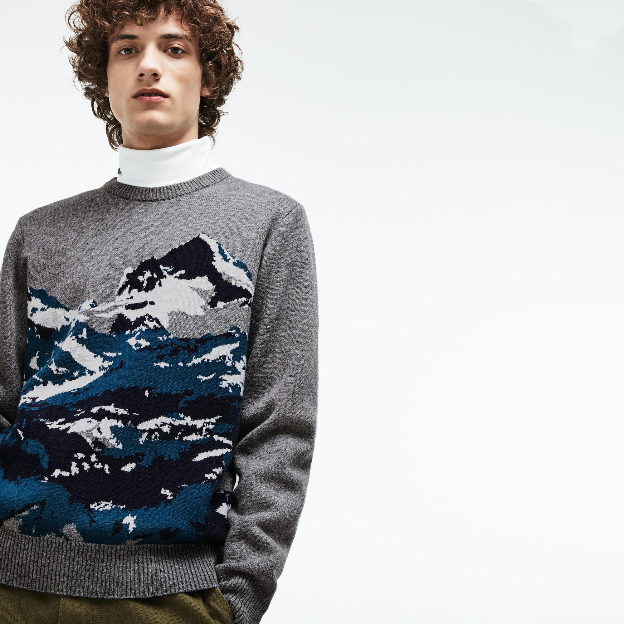 Men's Crew Neck Alpine Print Wool And Cotton Jacquard Sweater