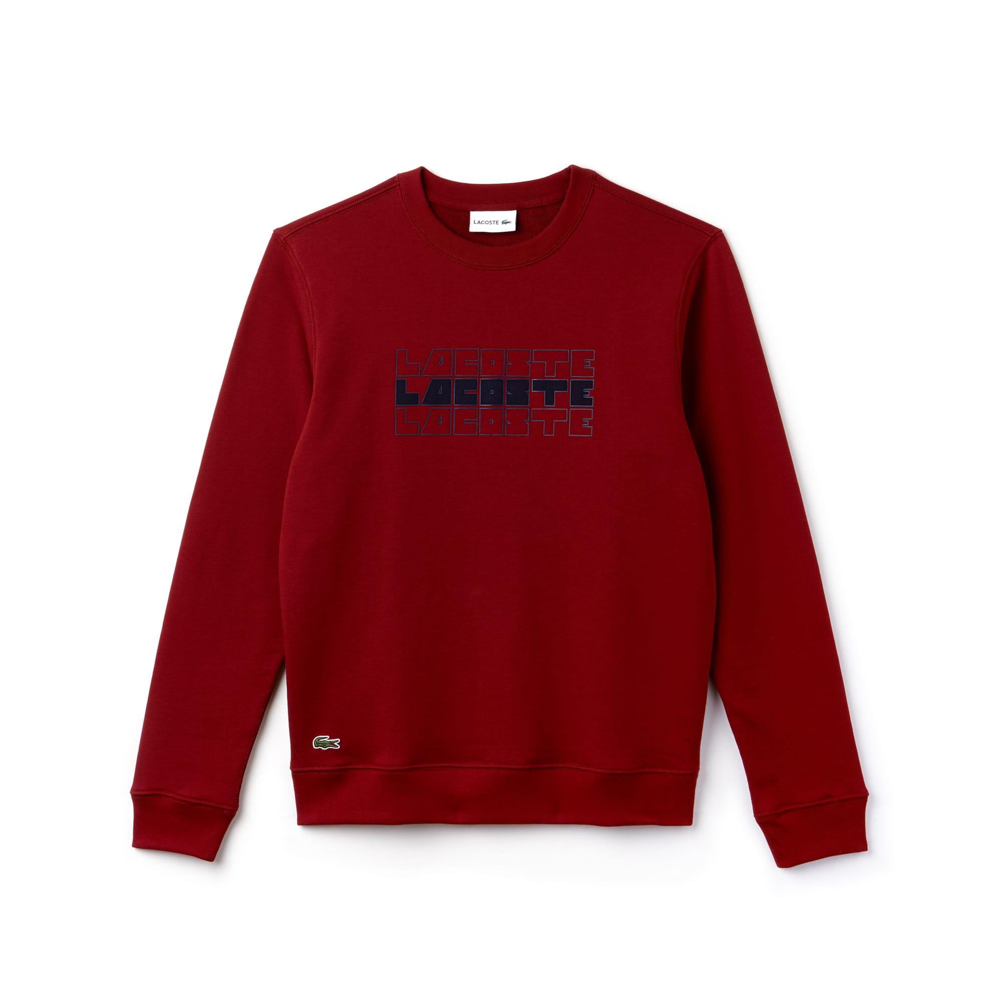 Men's Crew Neck Lettering Fleece Sweatshirt