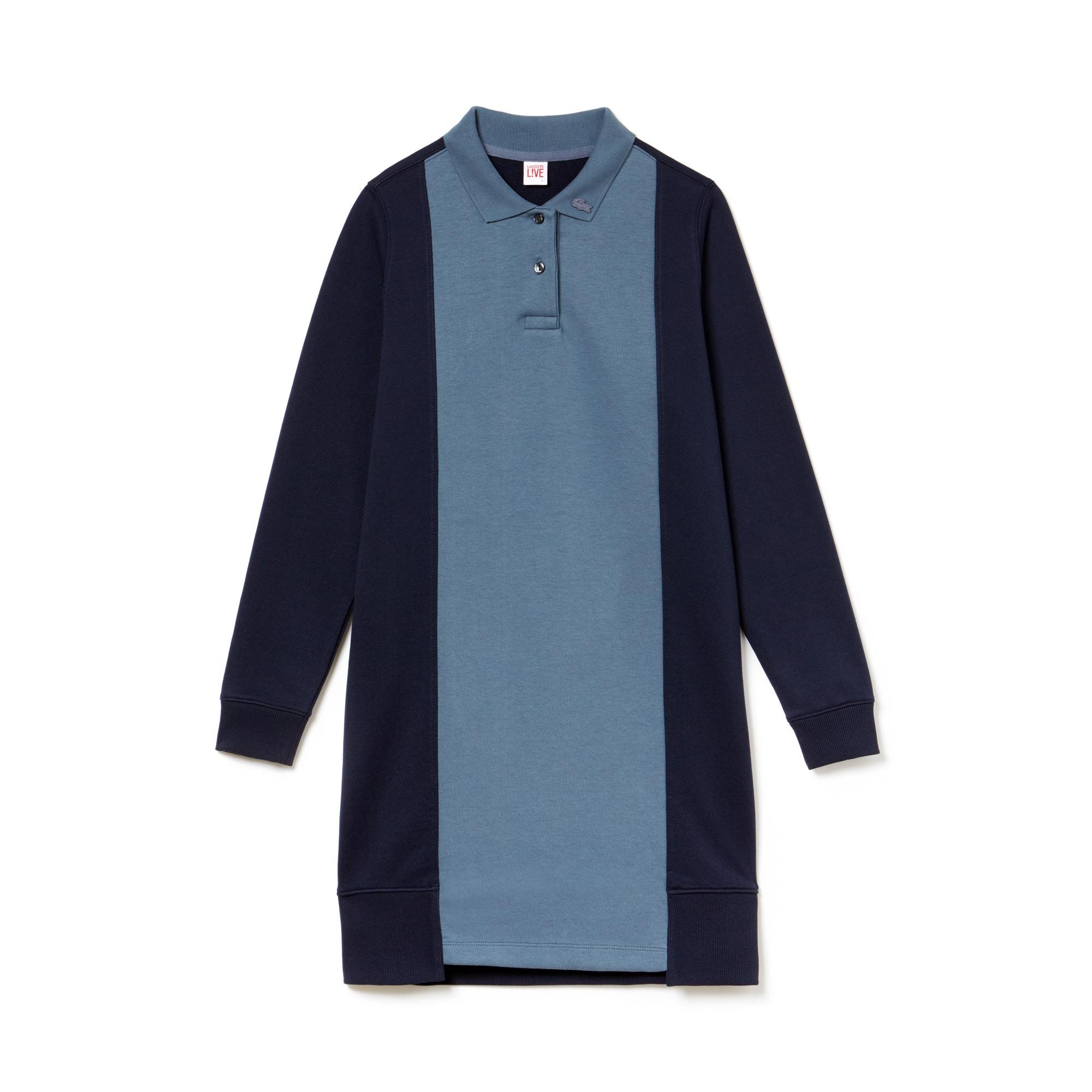 라코스테 Lacoste Womens LIVE Contrast Panels Fleece Polo Dress,supernova/navy blue