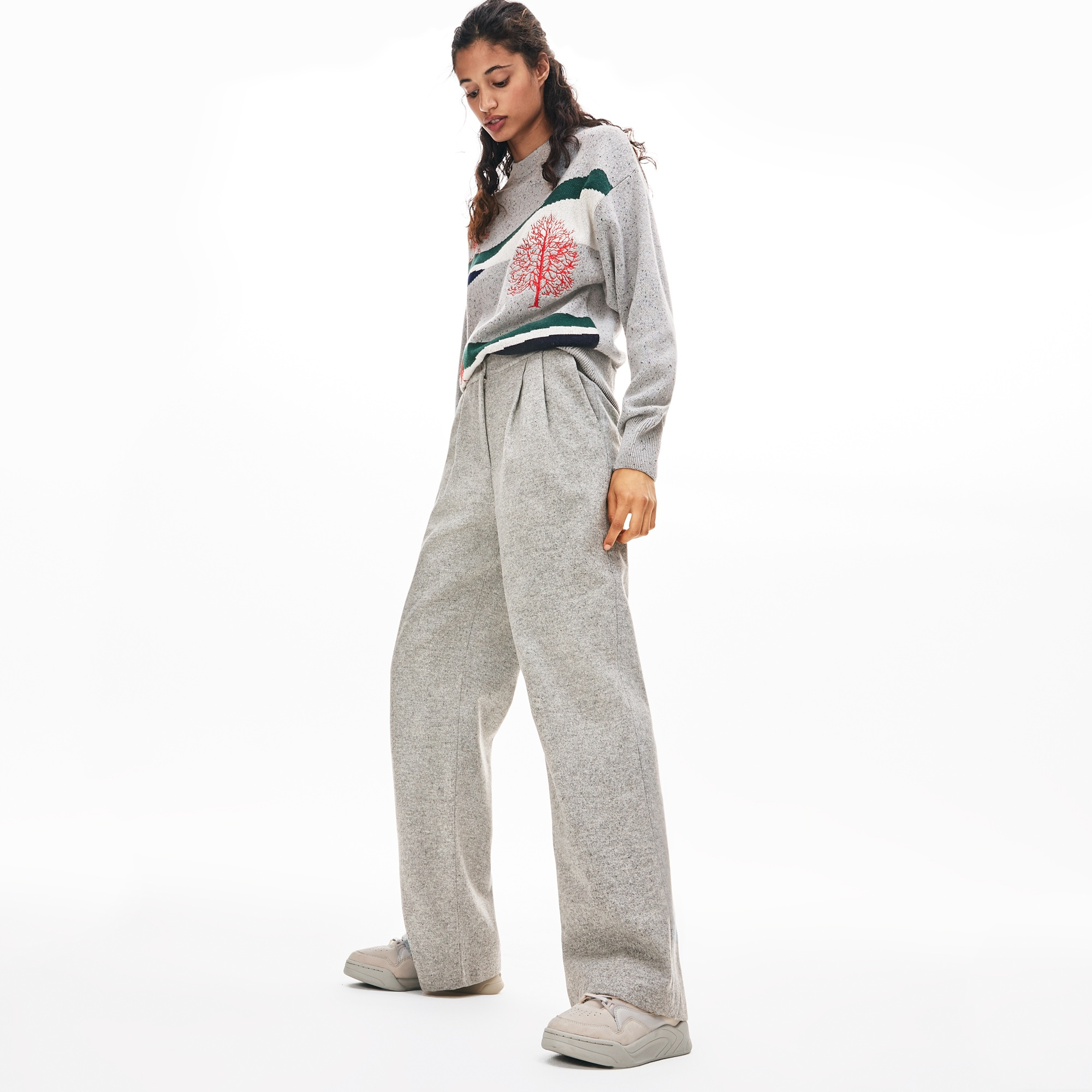 Lacoste Pants Women's Loose Pleated Wool And Cashmere Flannel Pants