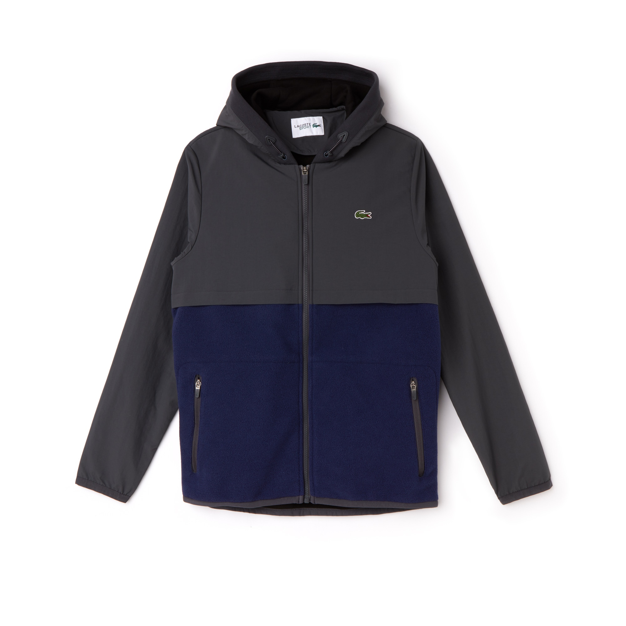 Men's SPORT Hooded Bi-Material Colorblock Tennis Jacket