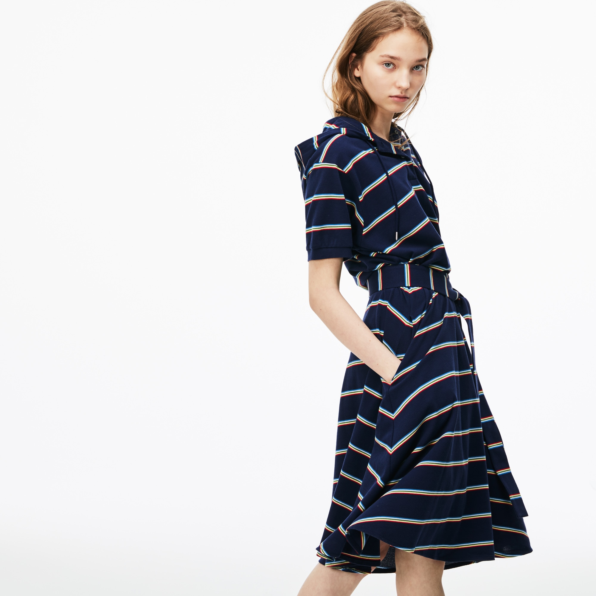 Women's Striped Piqué Polo Dress